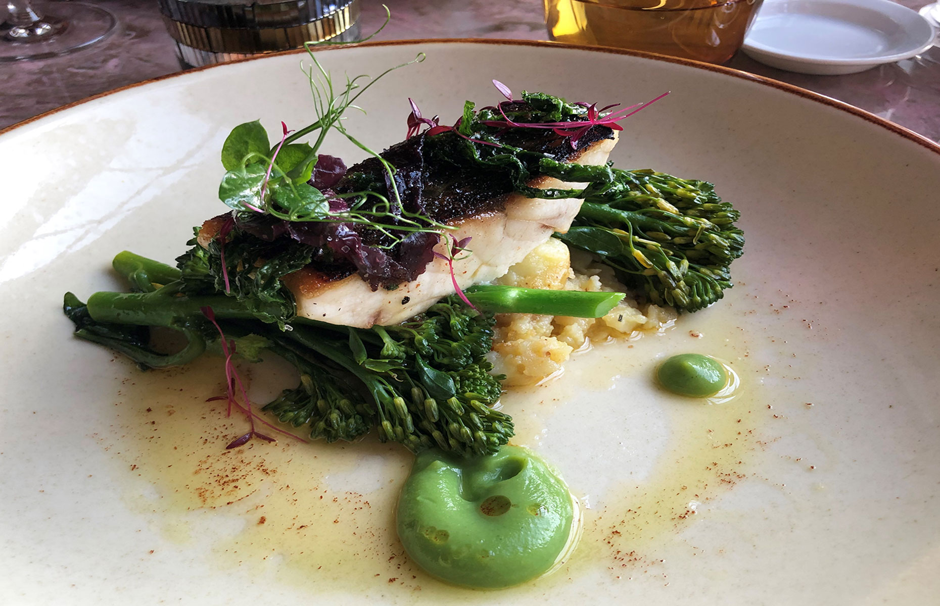 Stonebass with broccoli and potatoes (Image: Daisy Meager)