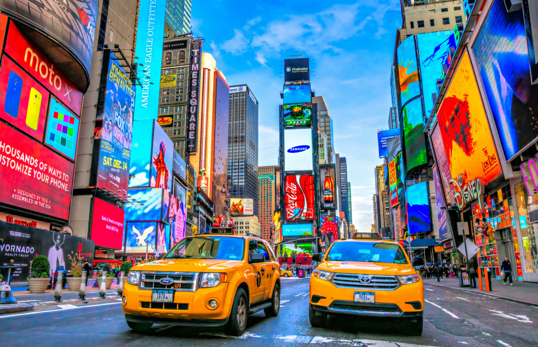 Times Square New York and yellow taxis