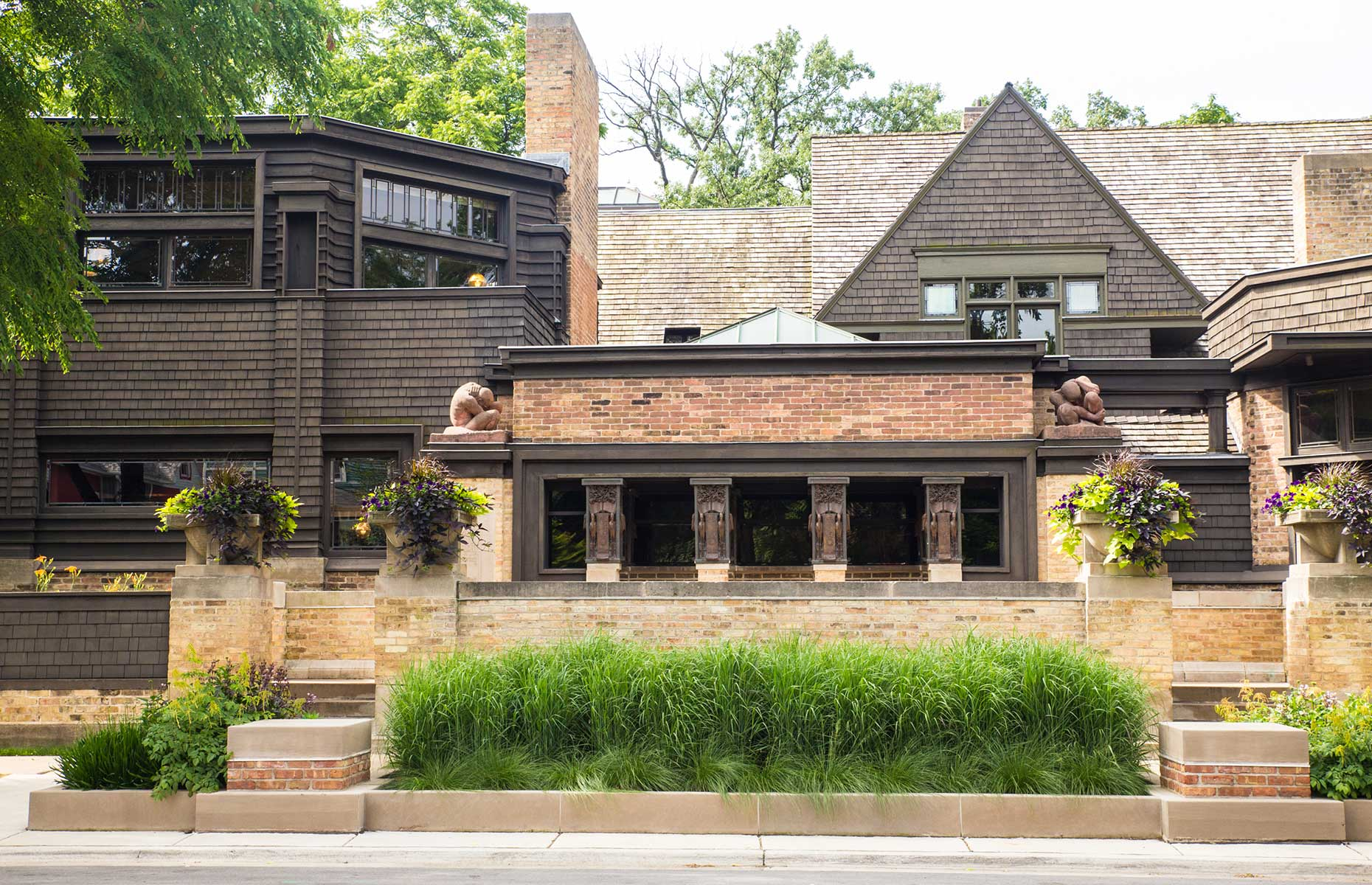 Frank Lloyd Wright's home and studio in Oak Park, pictured from the outside