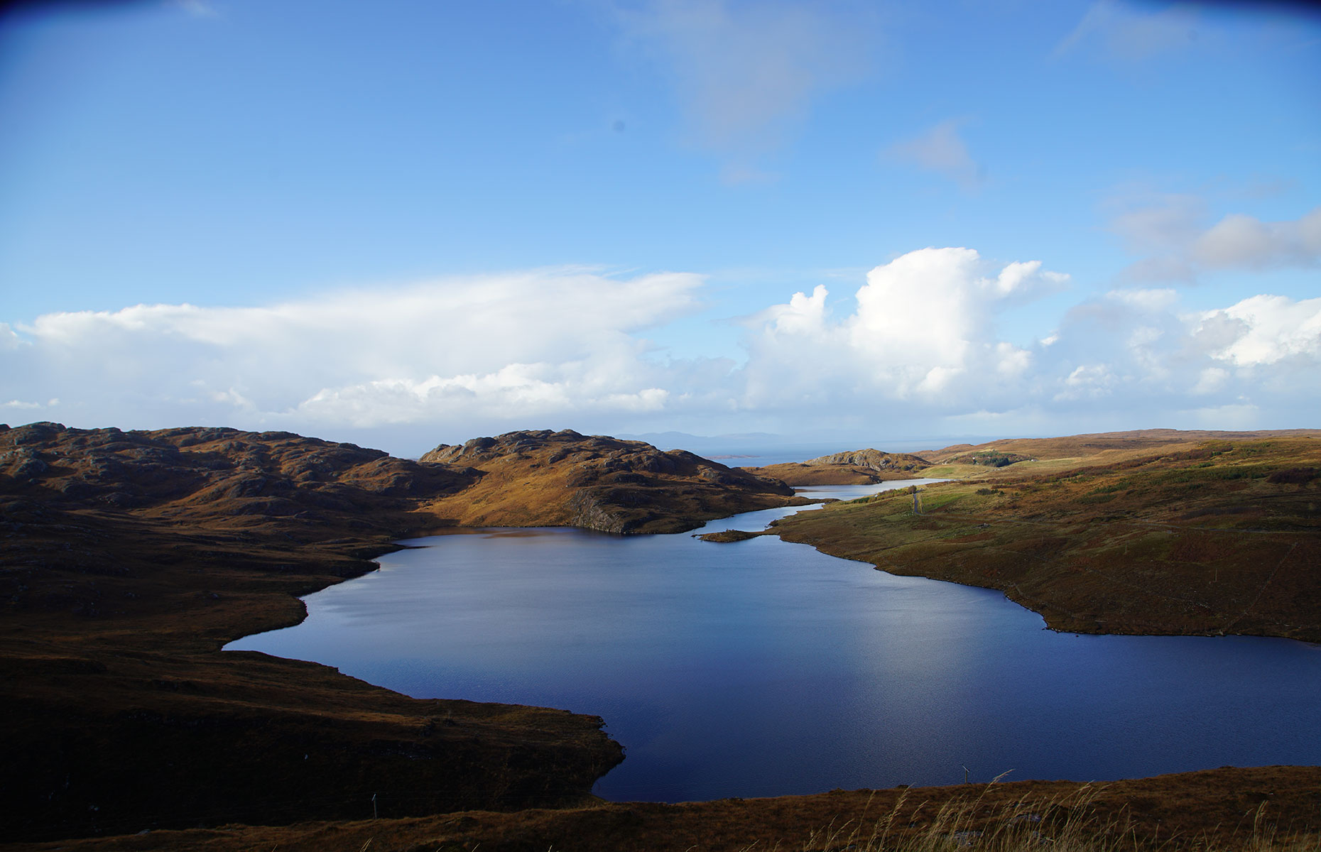 The rugged terrain of the Scottish Highlands is apparent in Wester Ross