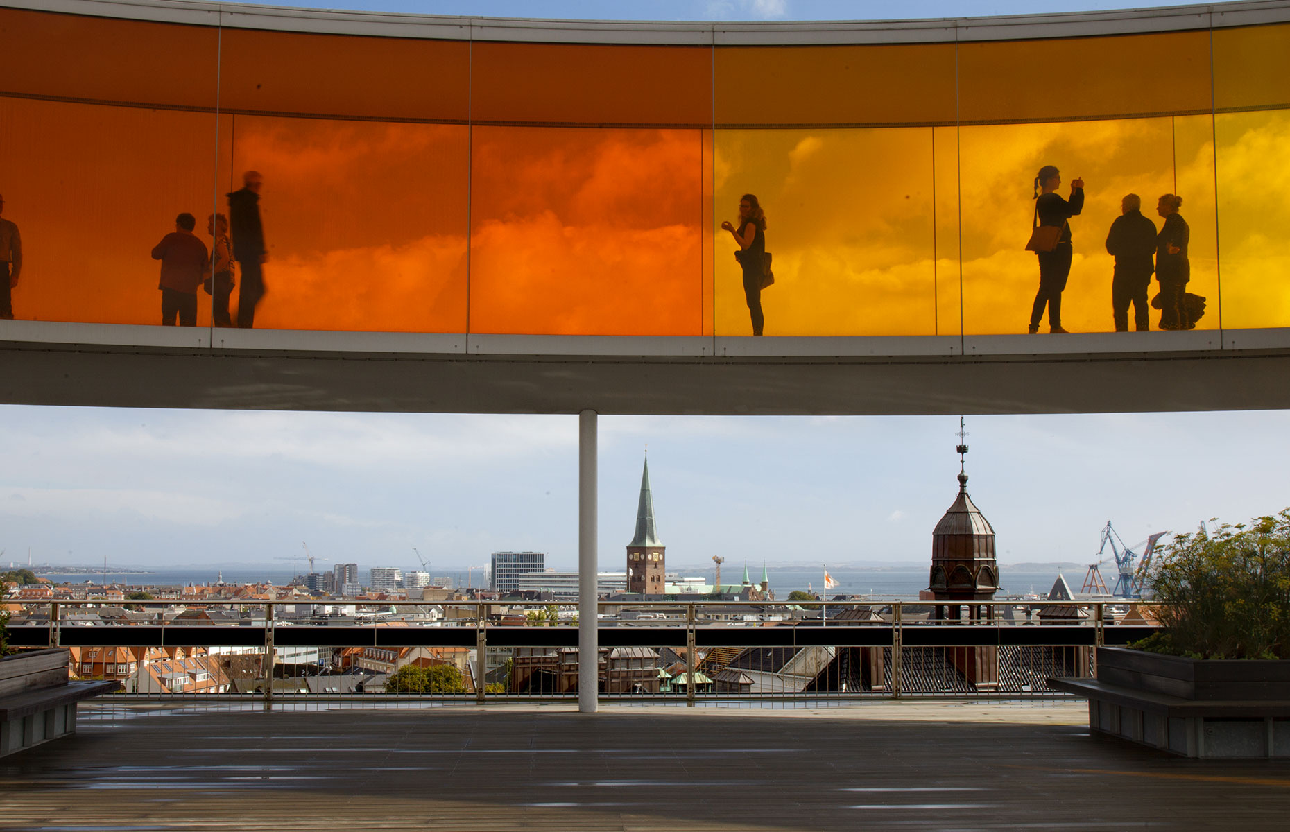 The Rainbow Walk, with city views, Aarhus