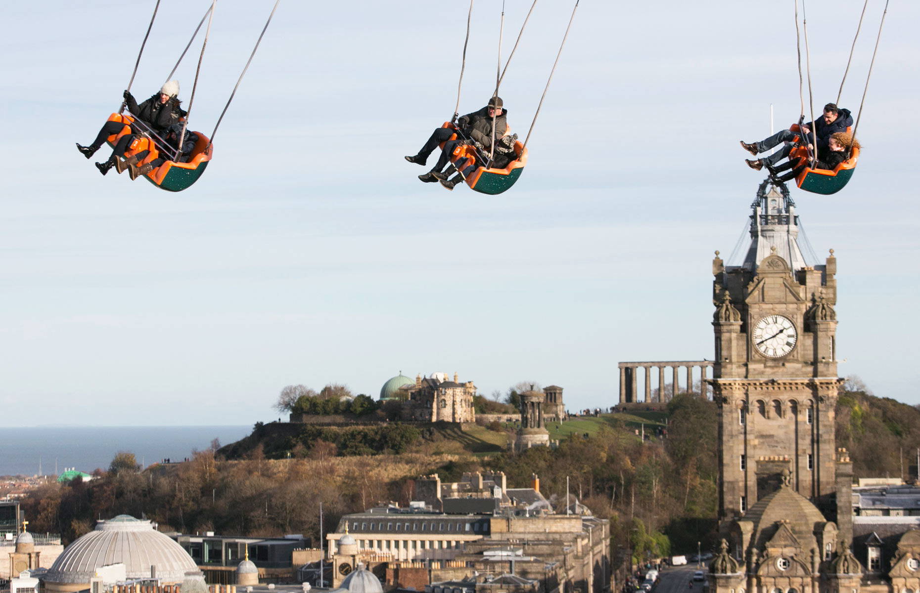 Whizz above the city on the many fairground rides at Edinburgh's Christmas 2018