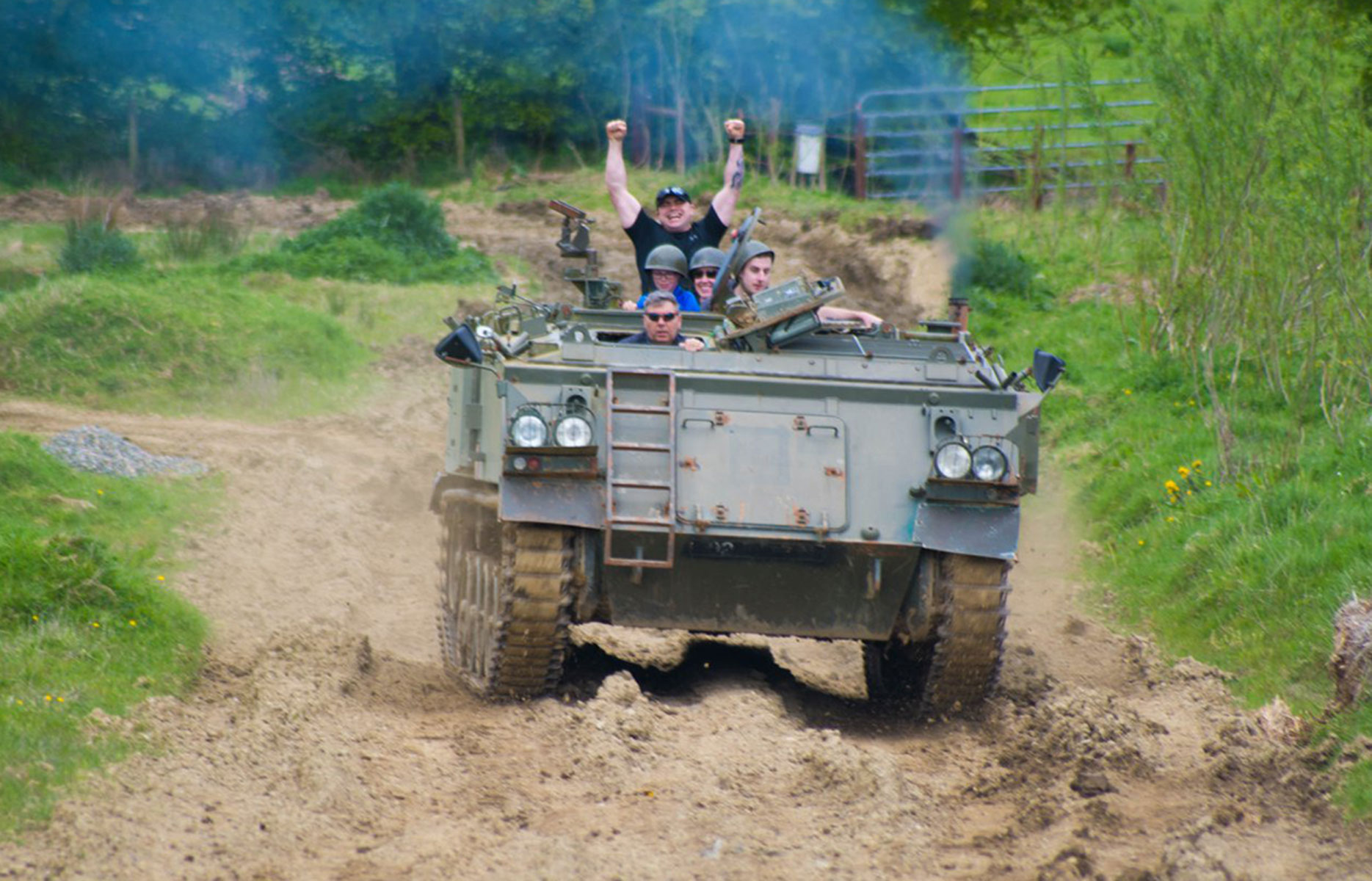 Ride in a tank at the Irish Military museum, Boyne Valley, Ireland