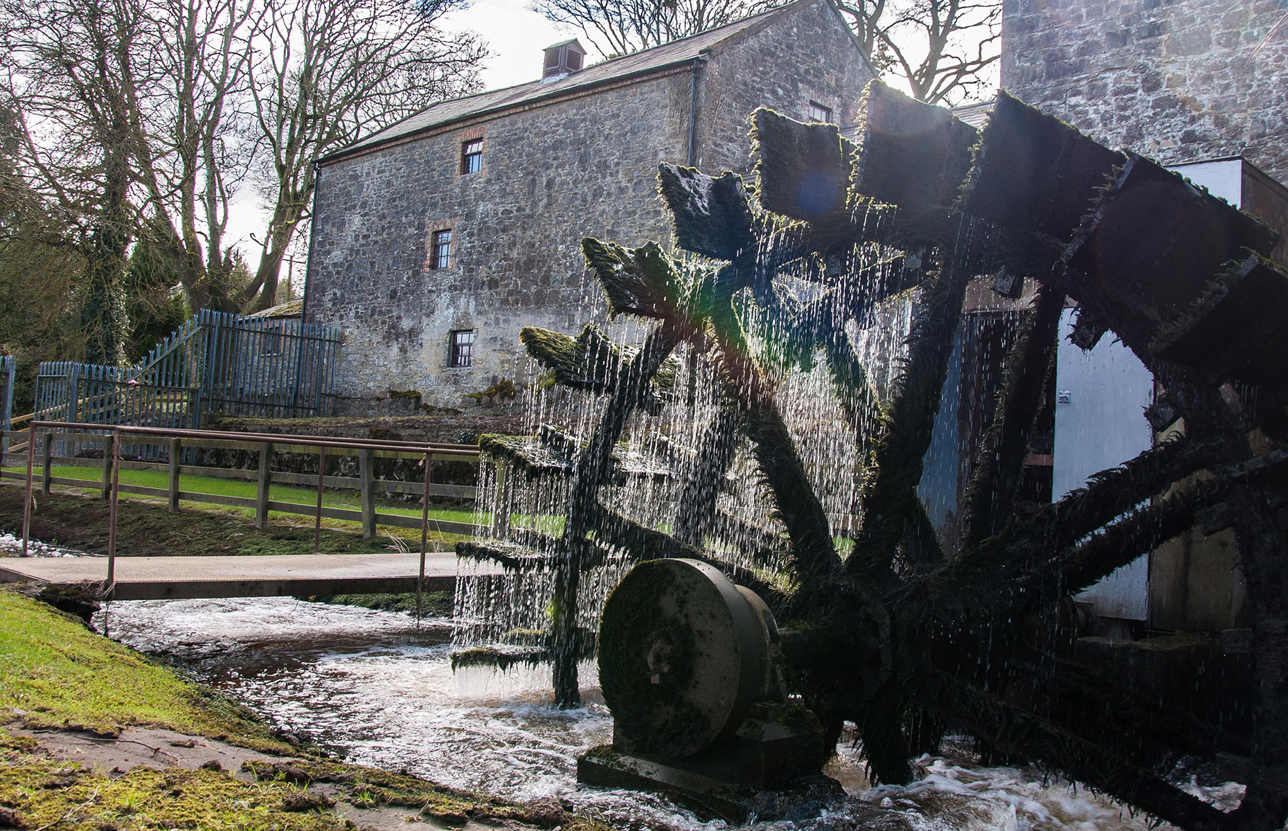 Mill flour to take away at Martry Mill, Boyne Valley, Ireland, with its splendid waterwheel