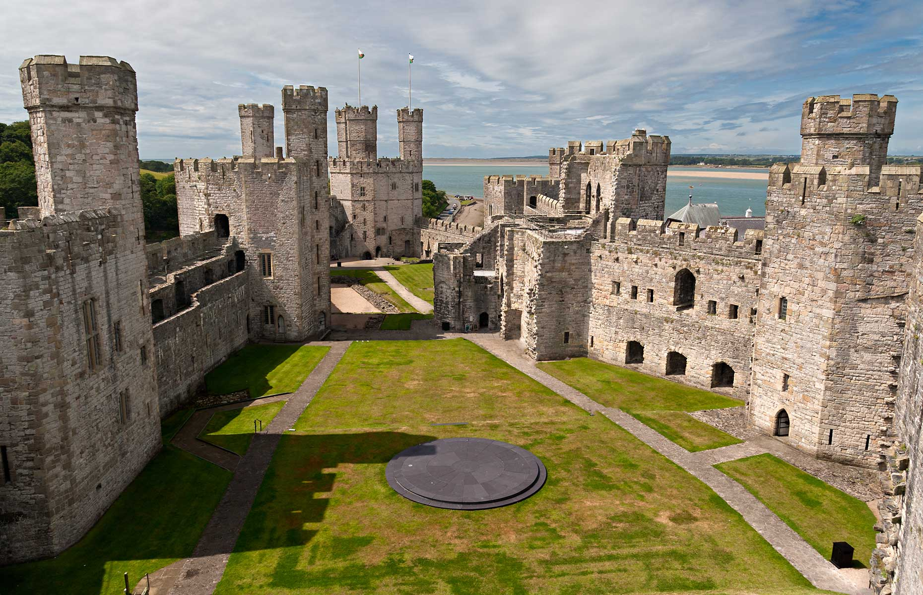 Caernarfon Castle, looking down in to the central courtyard