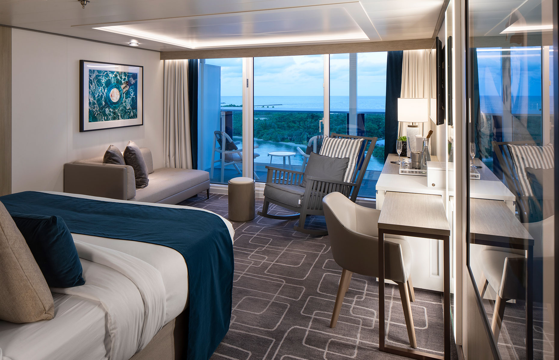 Interior of a Stateroom on board Celebrity Edge