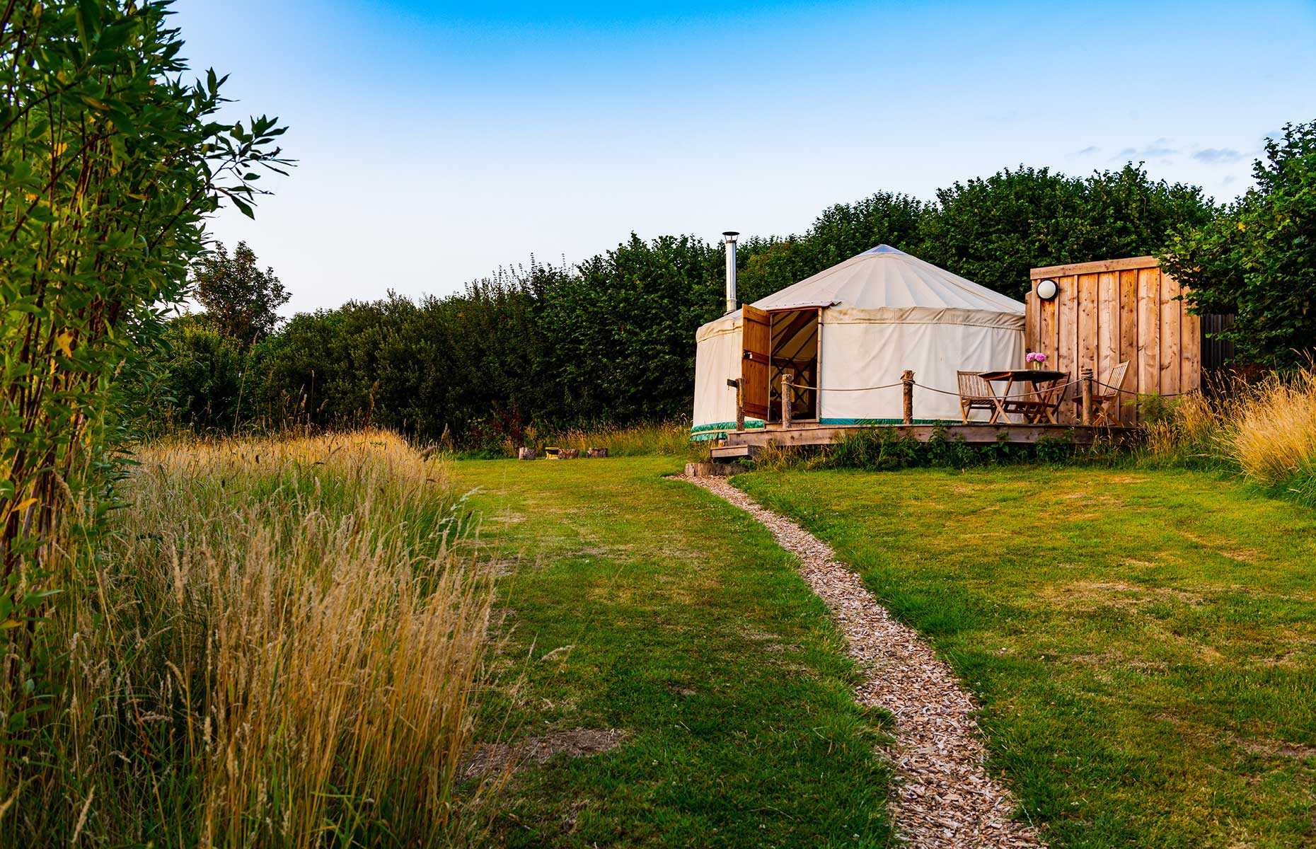 The exterior of a glamping yurt at Walnut Farm, Dorset