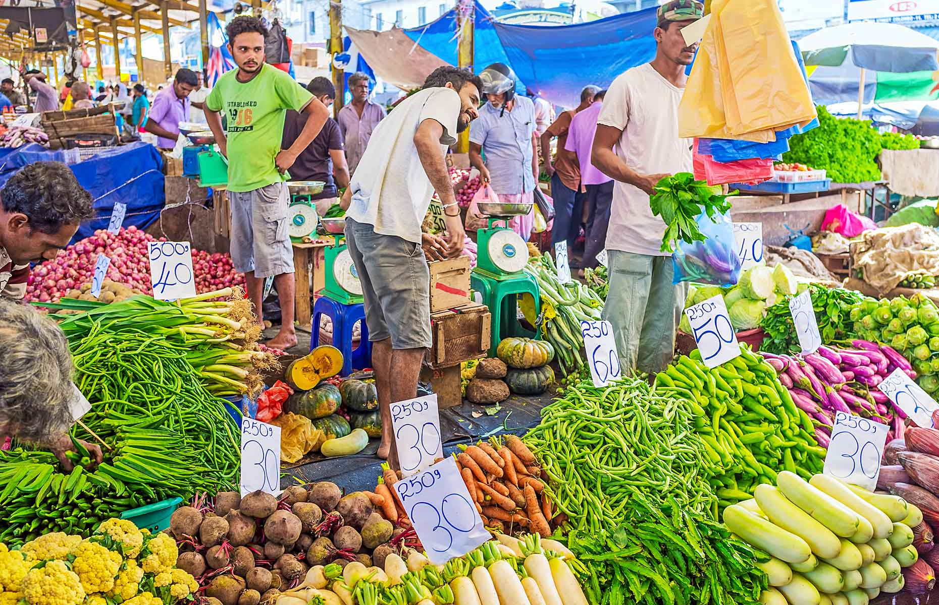 Pettah market in Colombo offers stall after stall of locally grown fruit and veg