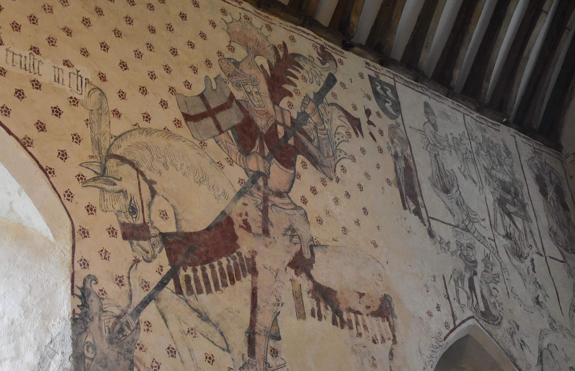 St Cadoc's Church with medieval artwork from the 1480s