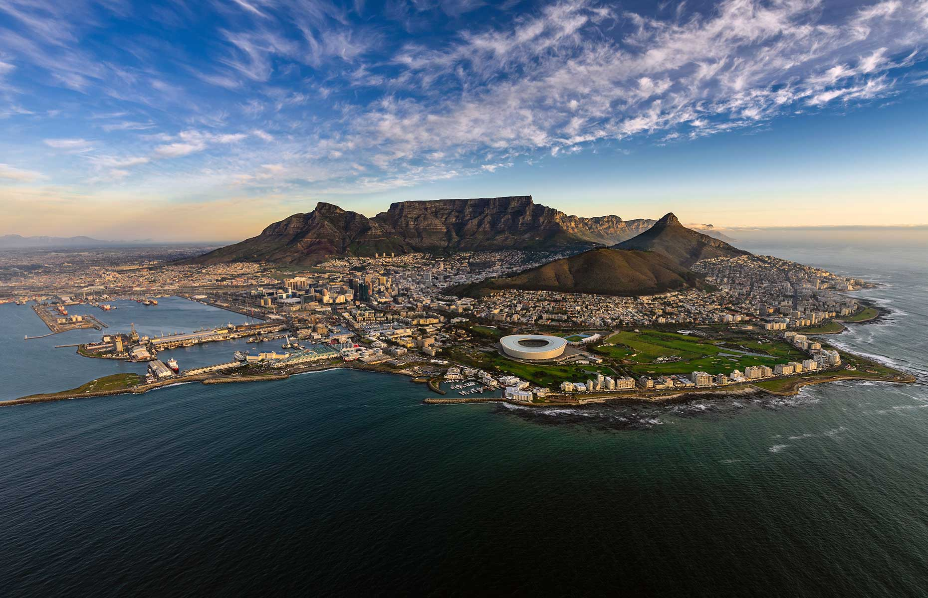 Cape Town, South Africa with a view of Table Mountain
