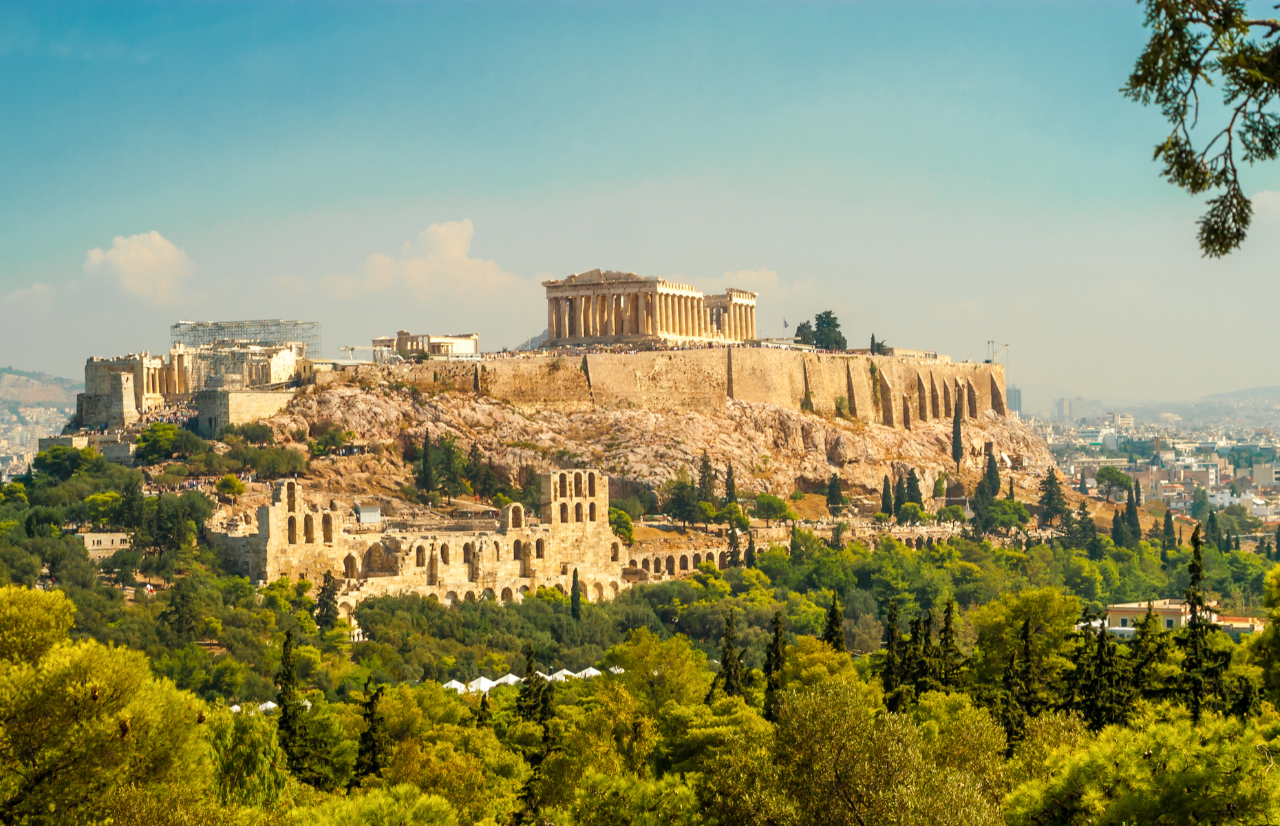 View of Athens acropolis in Greece