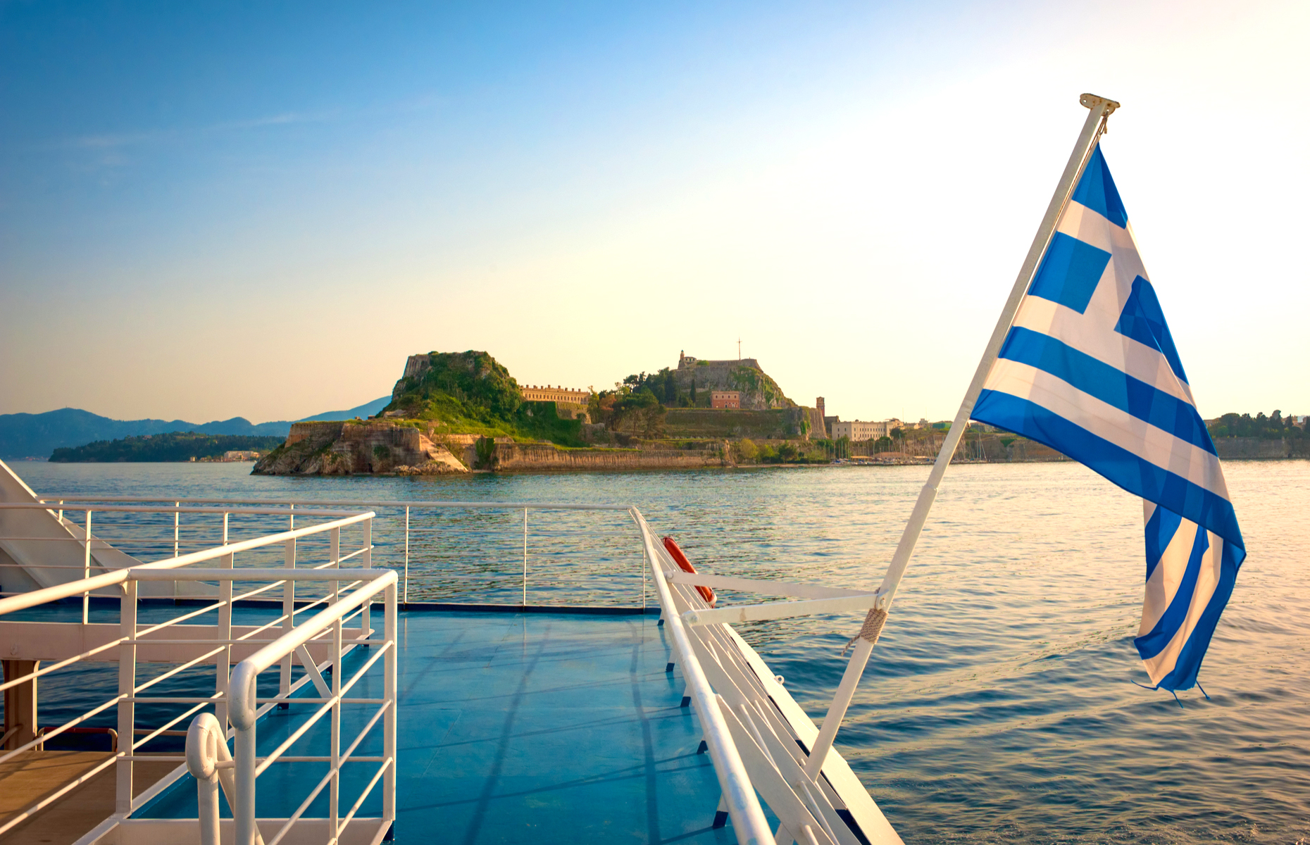 Ferry view of Corfu Castle in Greece