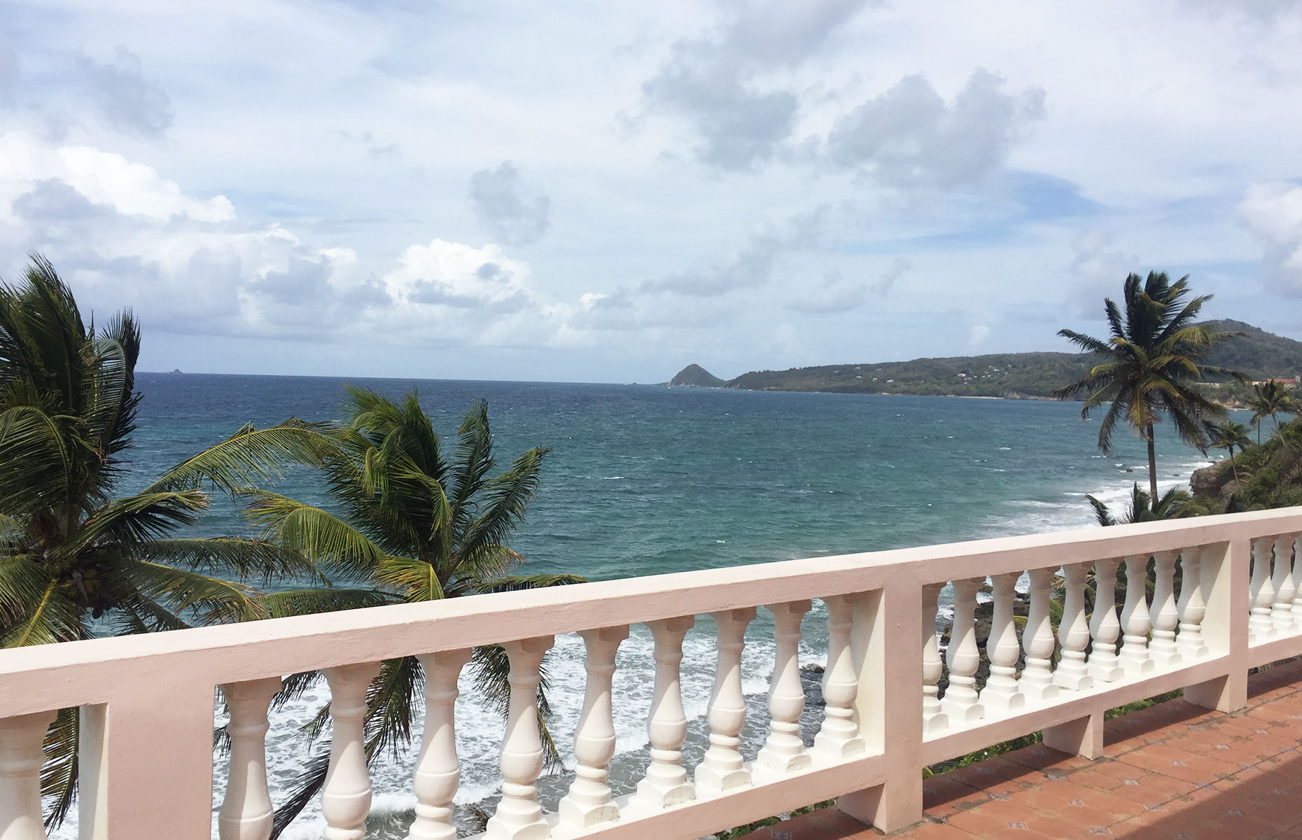 View from the veranda at the Petit Anse restaurant