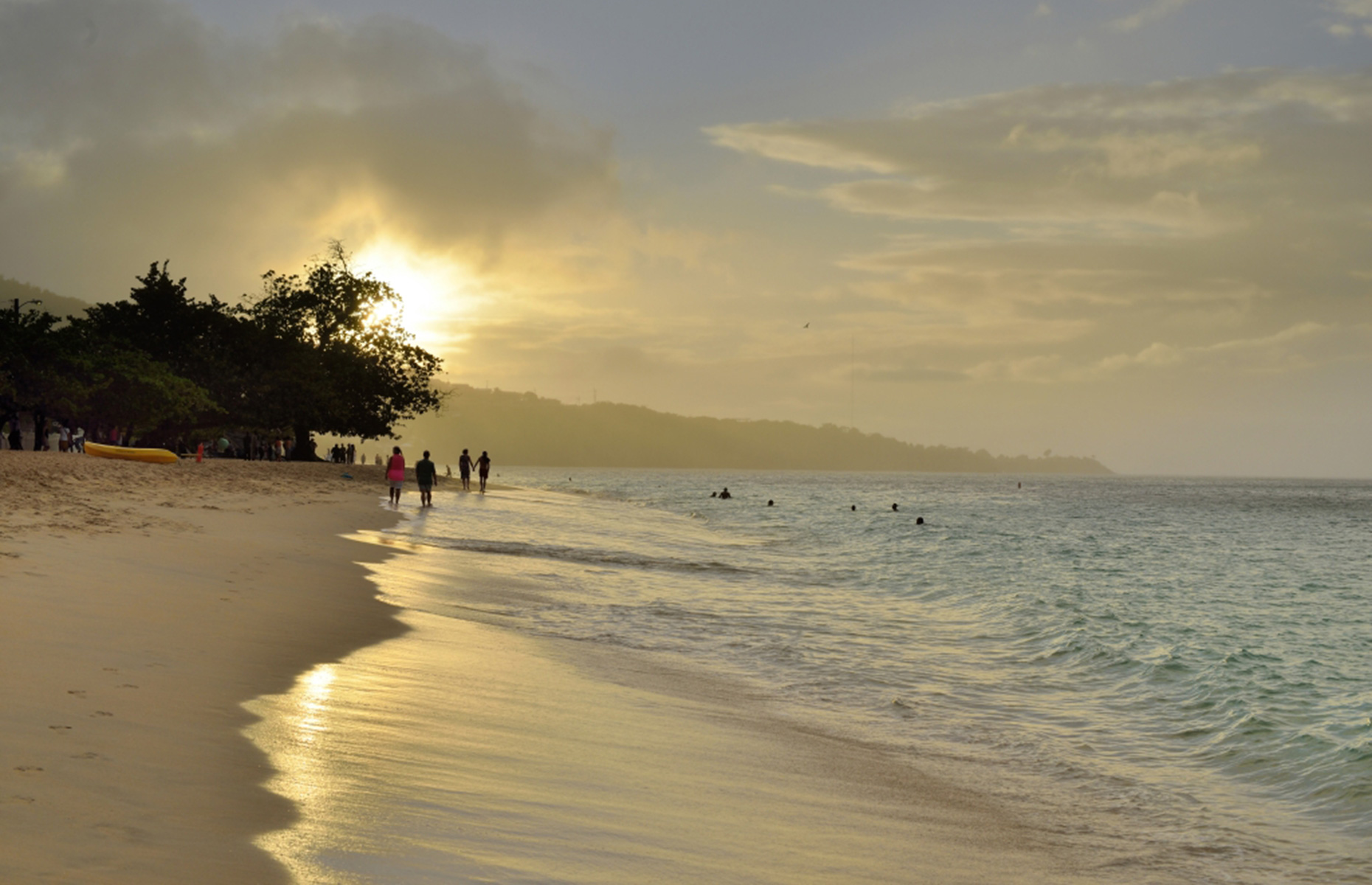 Grand Anse Beach, Grenada, at sunset