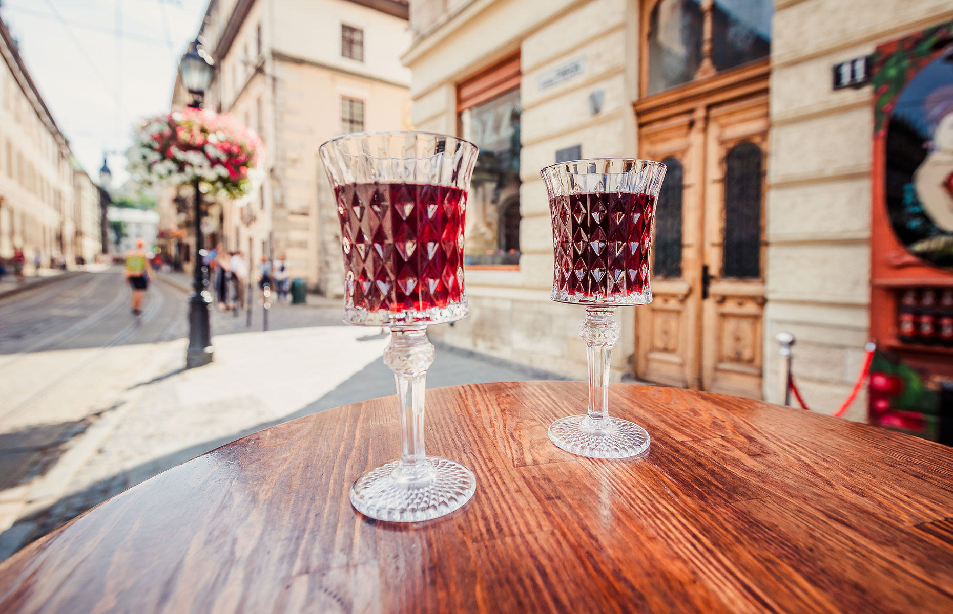 Cherry wine is served in traditional glasses in Lviv