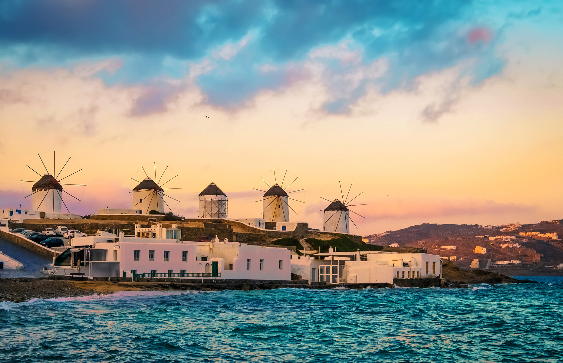 View of Mykonos windmills at sunset
