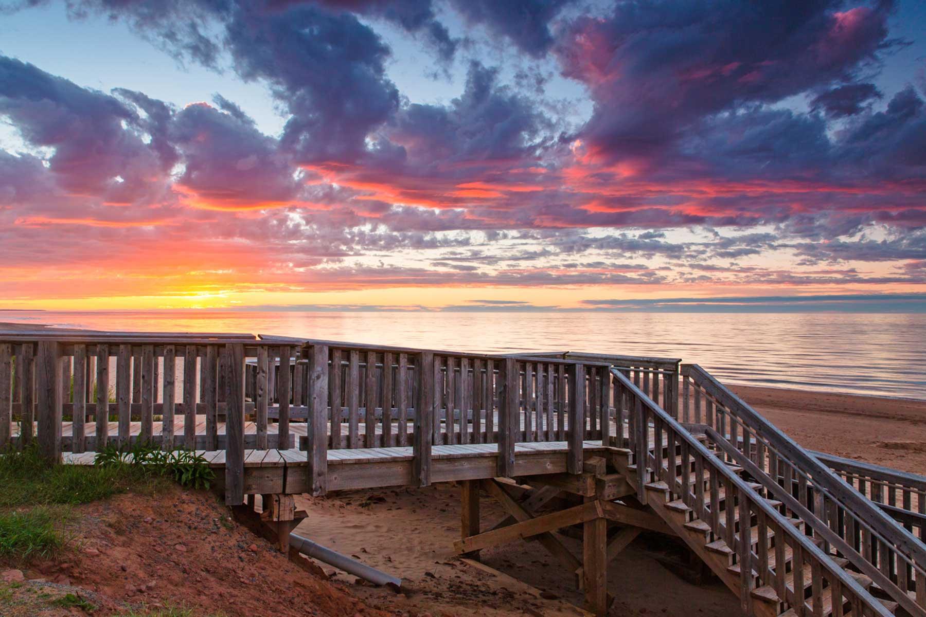 The boardwalk at Stanhope Cape beach, Prince Edward Island