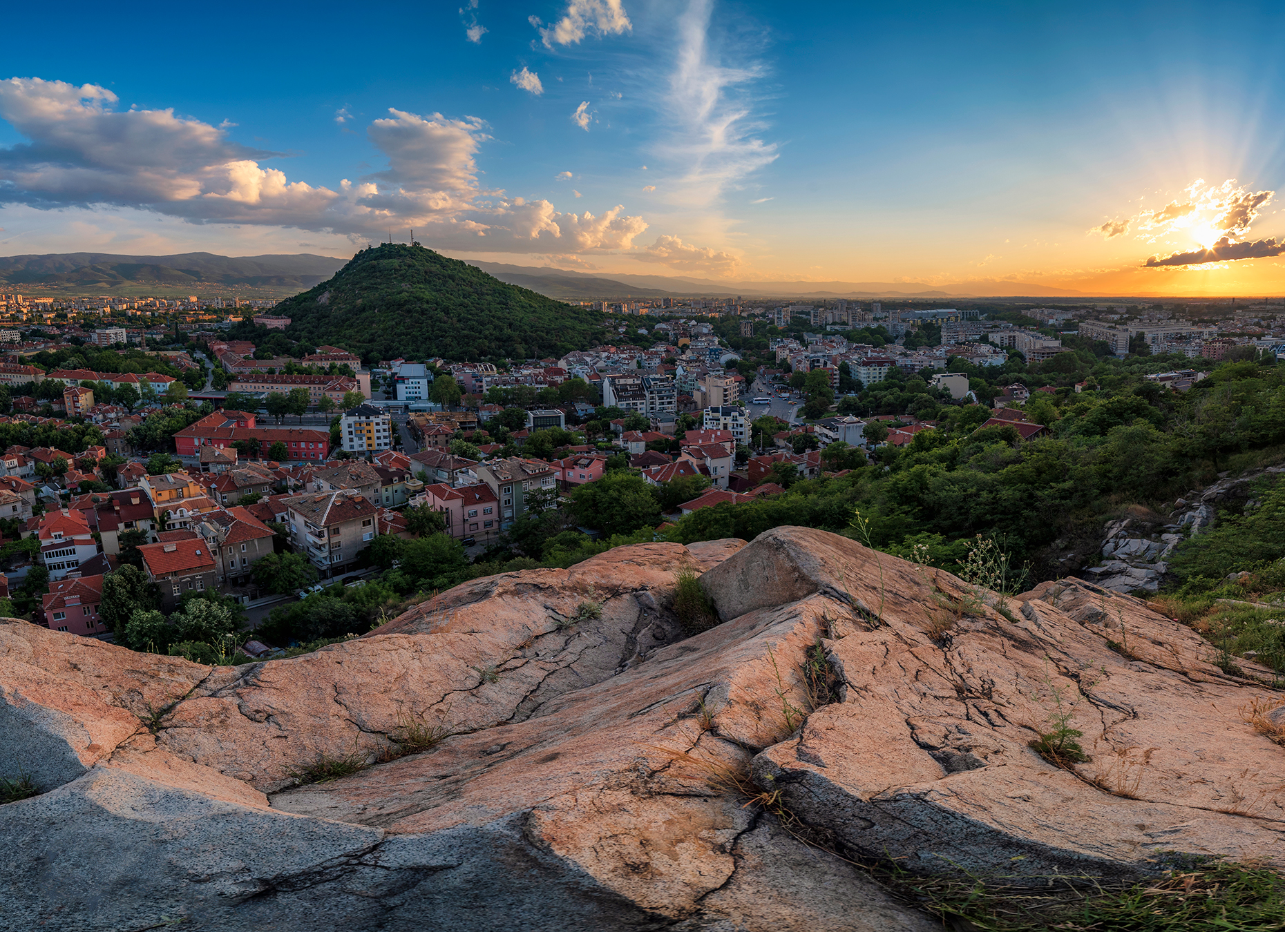 Plovdiv at sunset