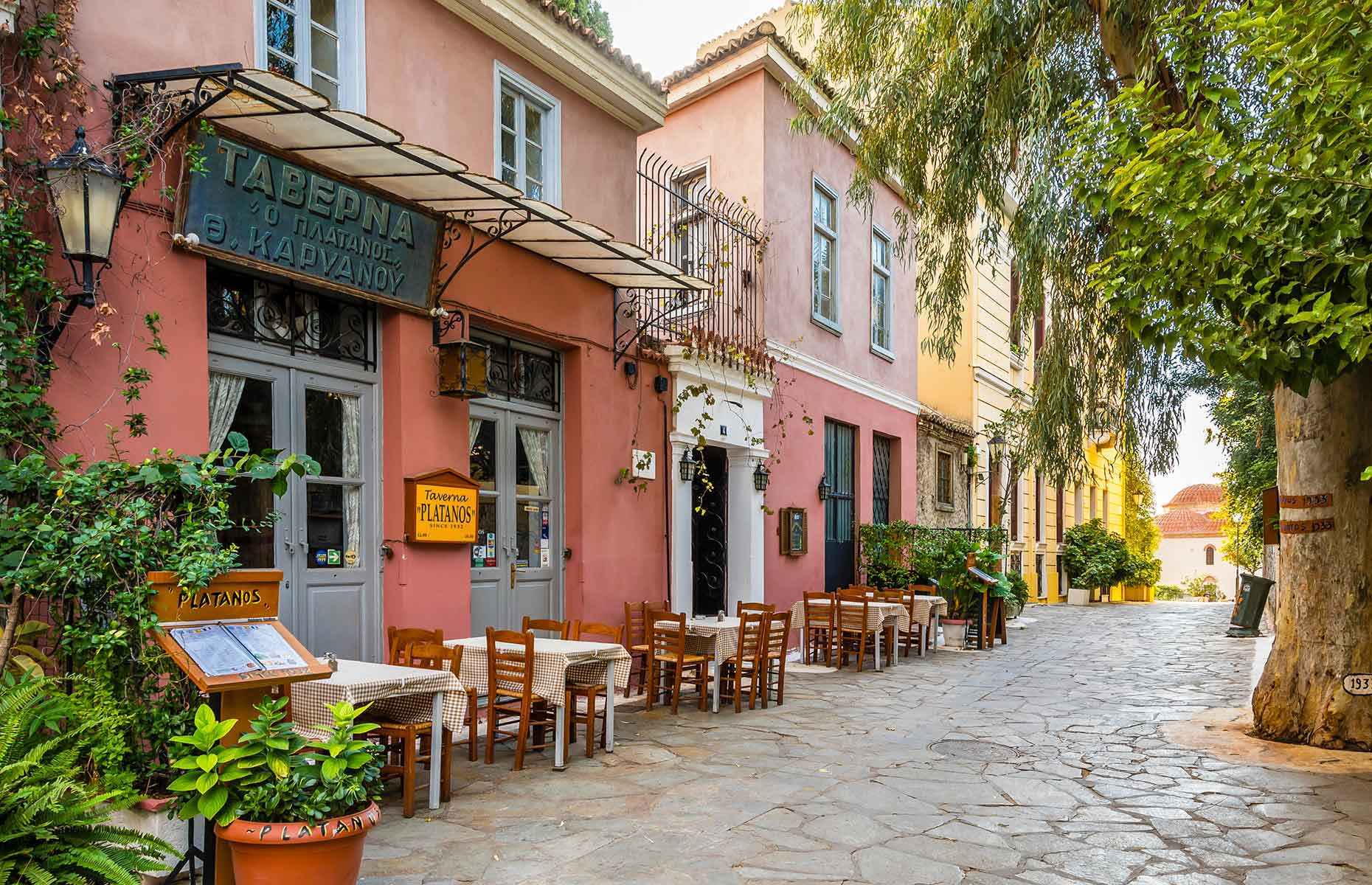 The Plaka district in Athens is a great place to eat out