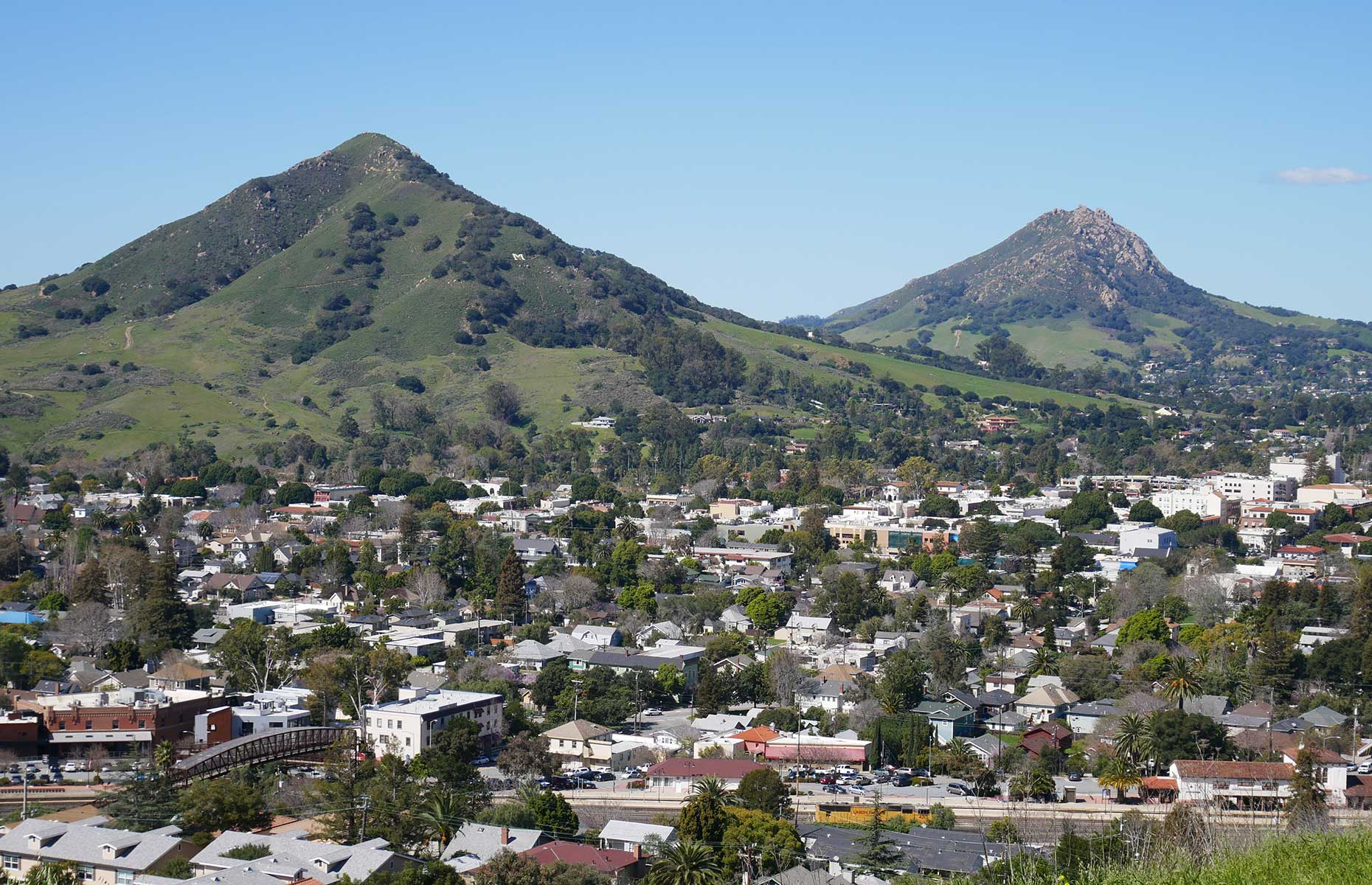 A view of Bishop Peak and Madonna Mountain from Terrace Hill, near San Luis Obispo, California