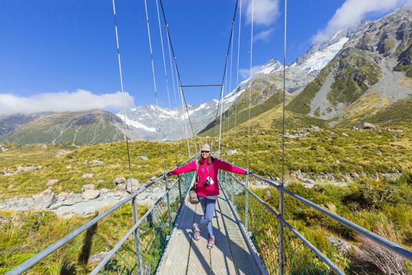 Woman alone, bridge, solo travel