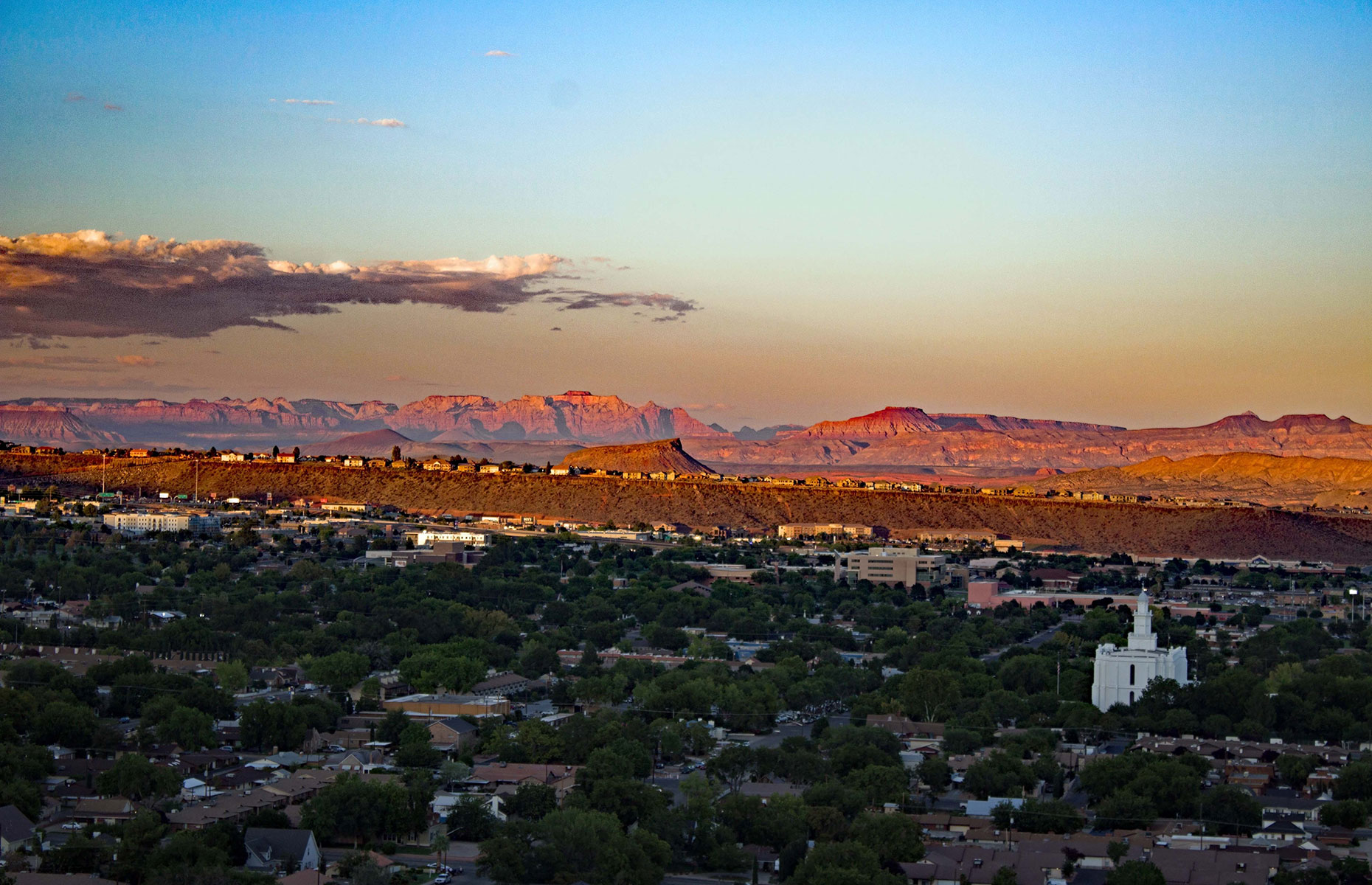 St George, Utah, at Sunset with the Mormon temple in the bottom right