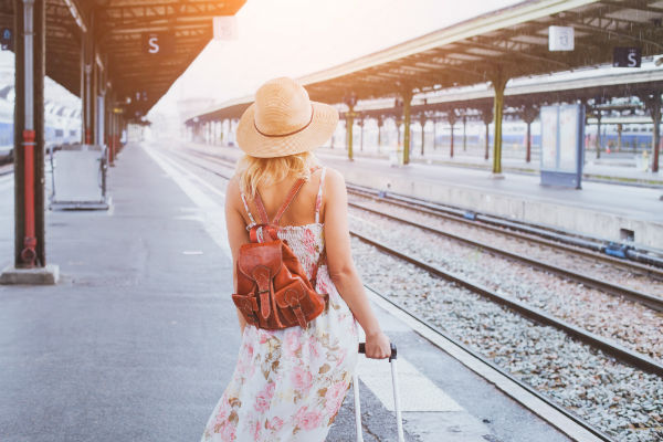 Woman waiting on a platform