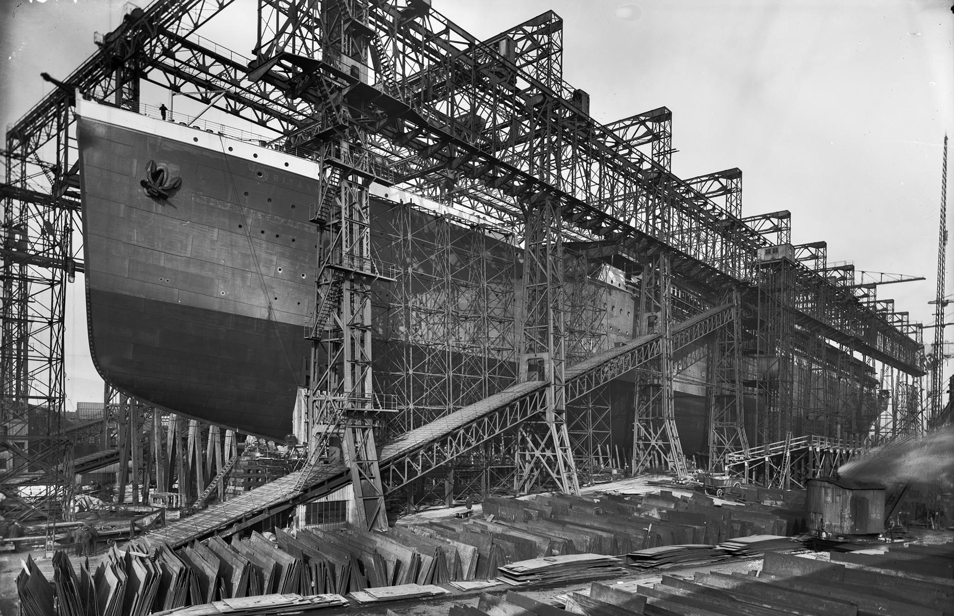 The Britannic being built at Harland & Wolff's shipyard, Belfast (Image: Unknown/Public domain/via Wikimedia Commons)
