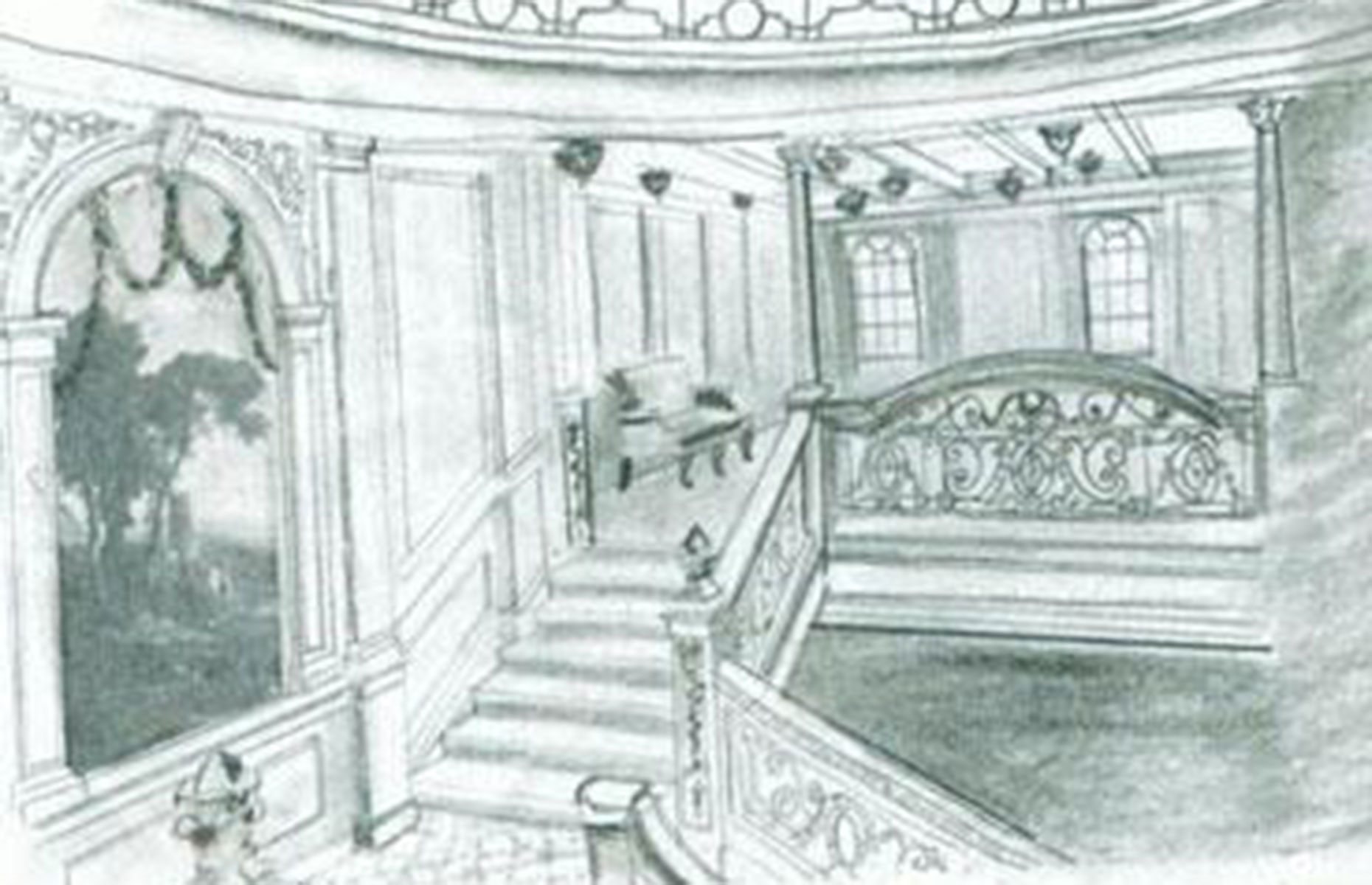A drawing of the first-class staircase on the Britannic (Image: Unknown author/Public domain/Public domain/via Wikimedia Commons)