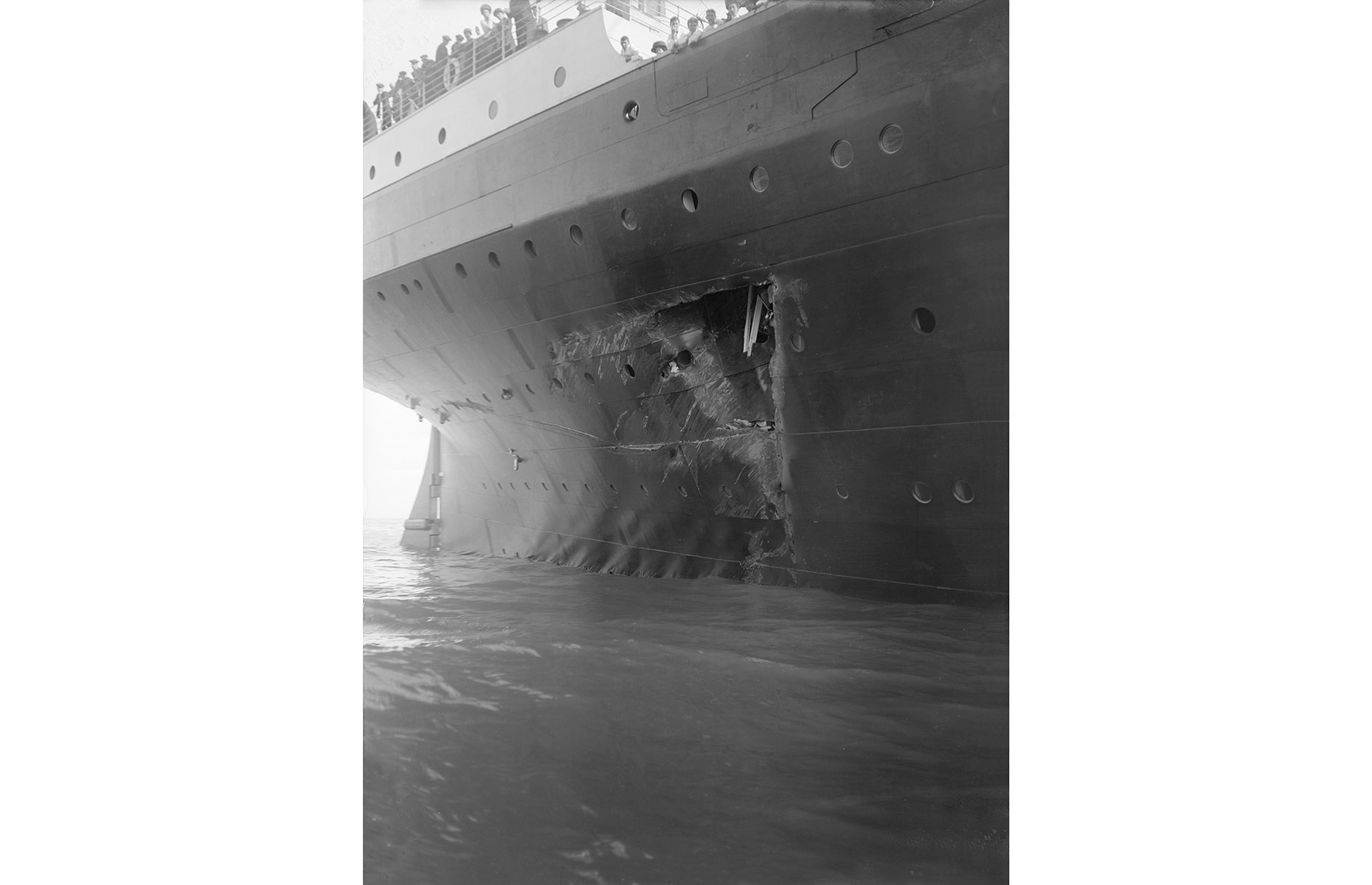 The damage to the RMS Olympic when it collided with HMS Hawke in 1911 (Image: Kirk and Sons of Cowes/Heritage Images/Getty Images)