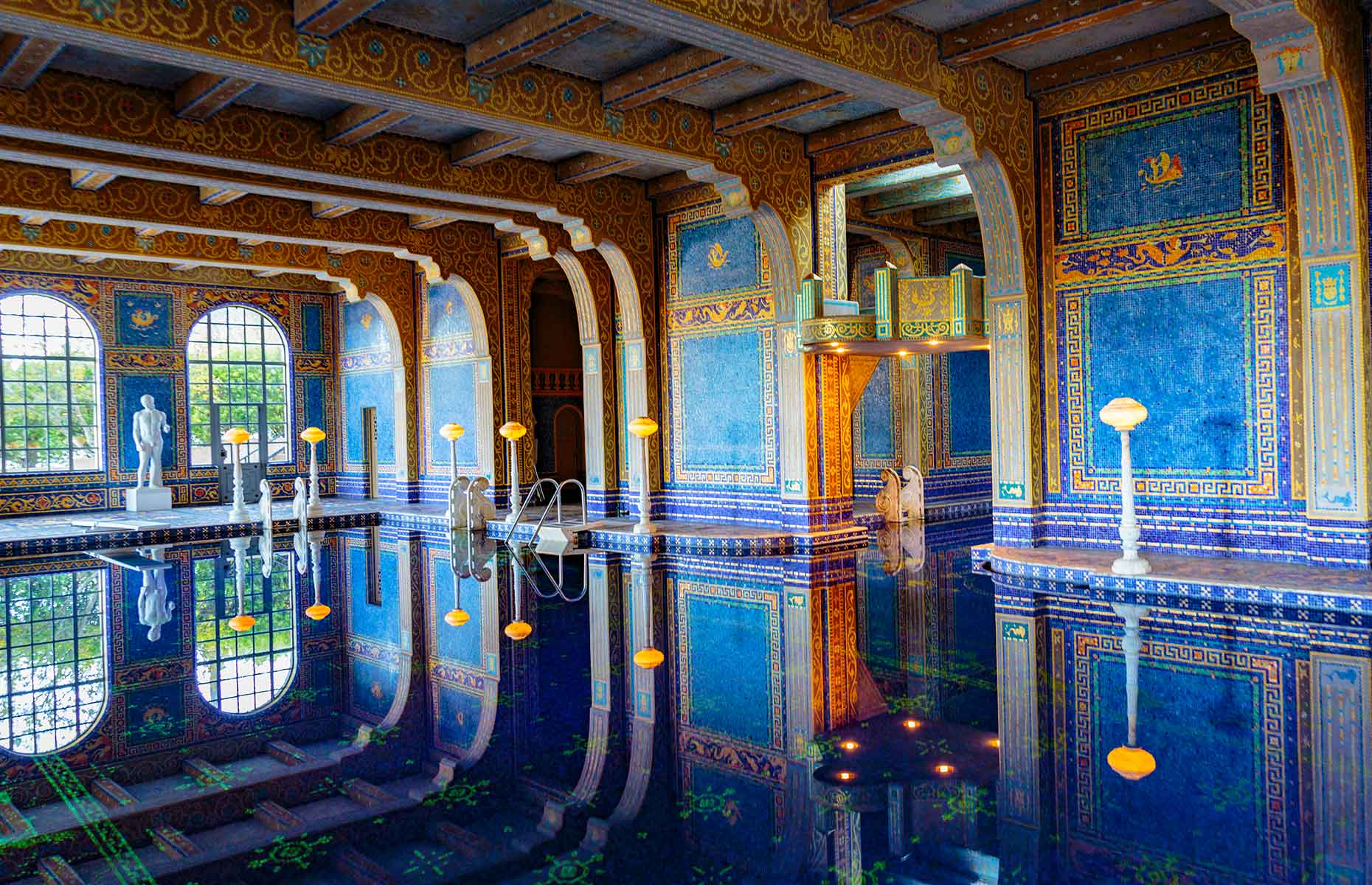 The opulent swimming pool at Hearst Castle
