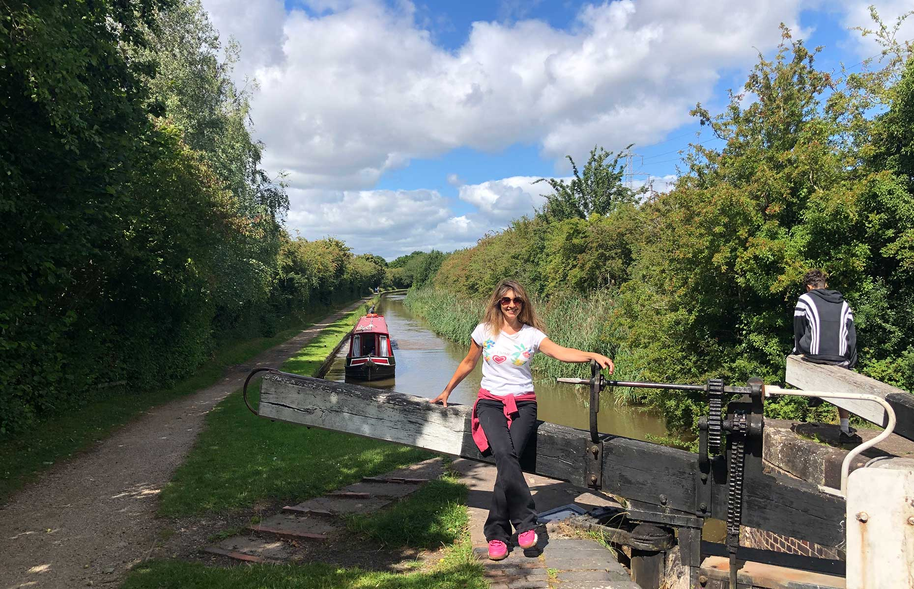 Writer Jo Kessel at a lock on the Droitwich mini-ring canal loop (Image: Courtesy of Jo Kessel)