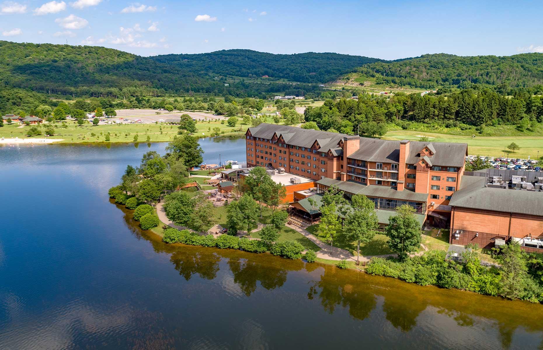Rocky Gap Casino sits on a lake