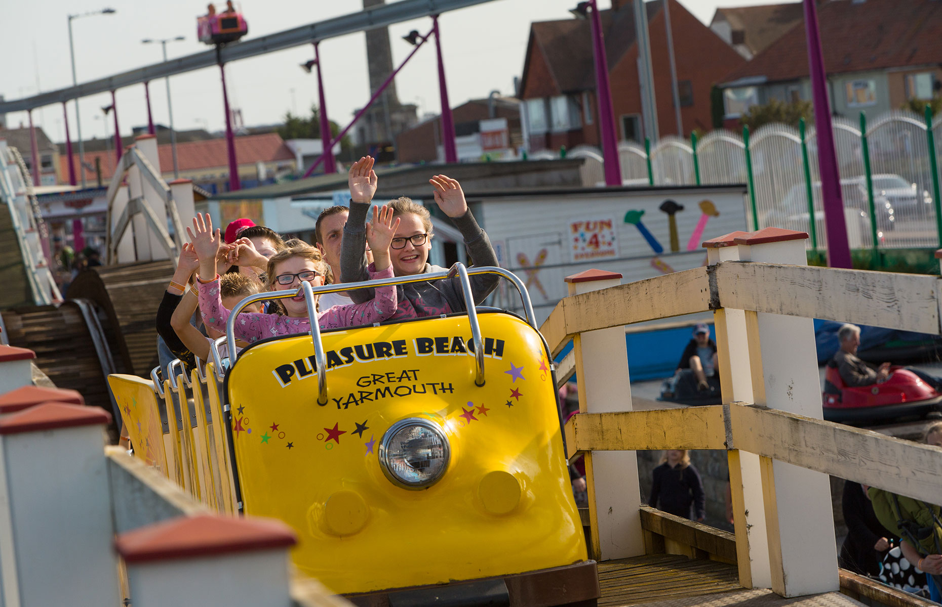 Kids having a whale of a time on a wooden rollercoaster at the Great Yarmouth Pleasure Beach (Image: Visit Great Yarmouth)