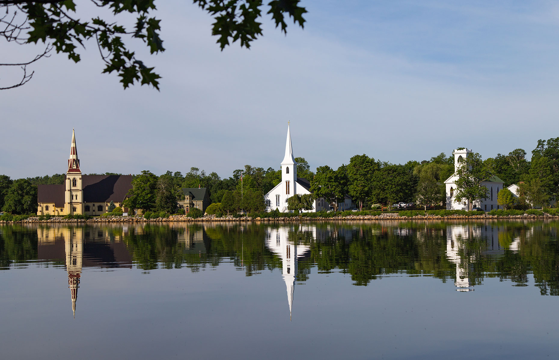 Mahone Bay's three churches is a famous viewing point in Nova Scotia