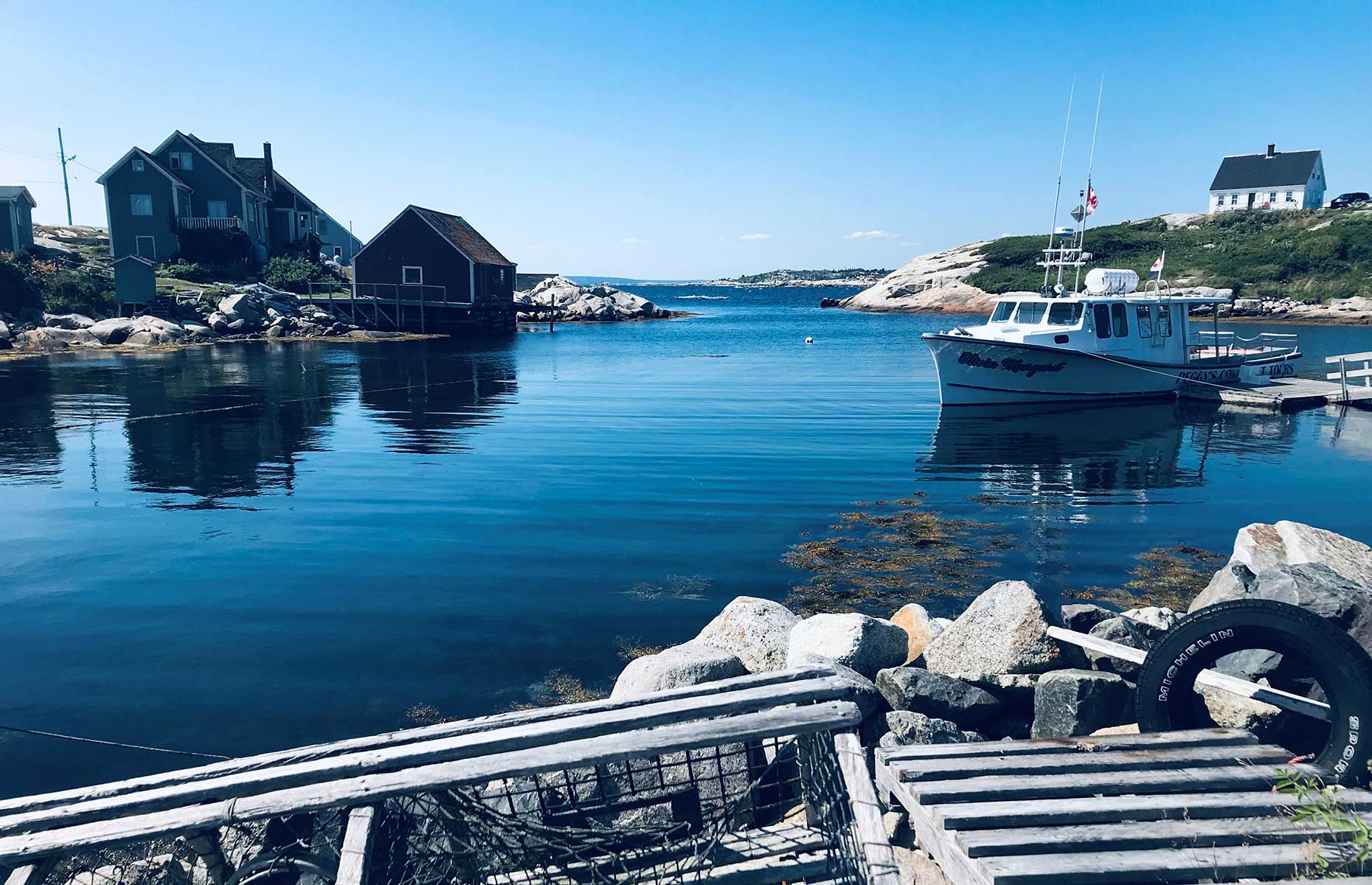 Peggy's Cove, is a working fishing village in Nova Scotia