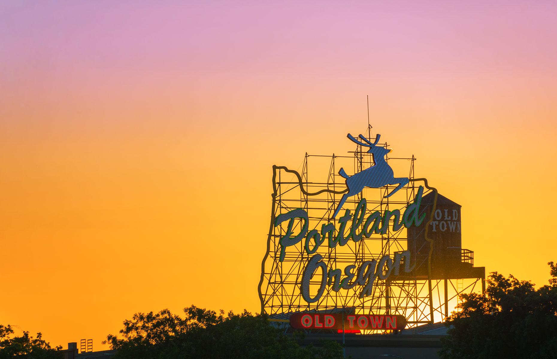 Portland, Oregon's famous White Stag Sign (Image: Jess Kraft/Shutterstock)