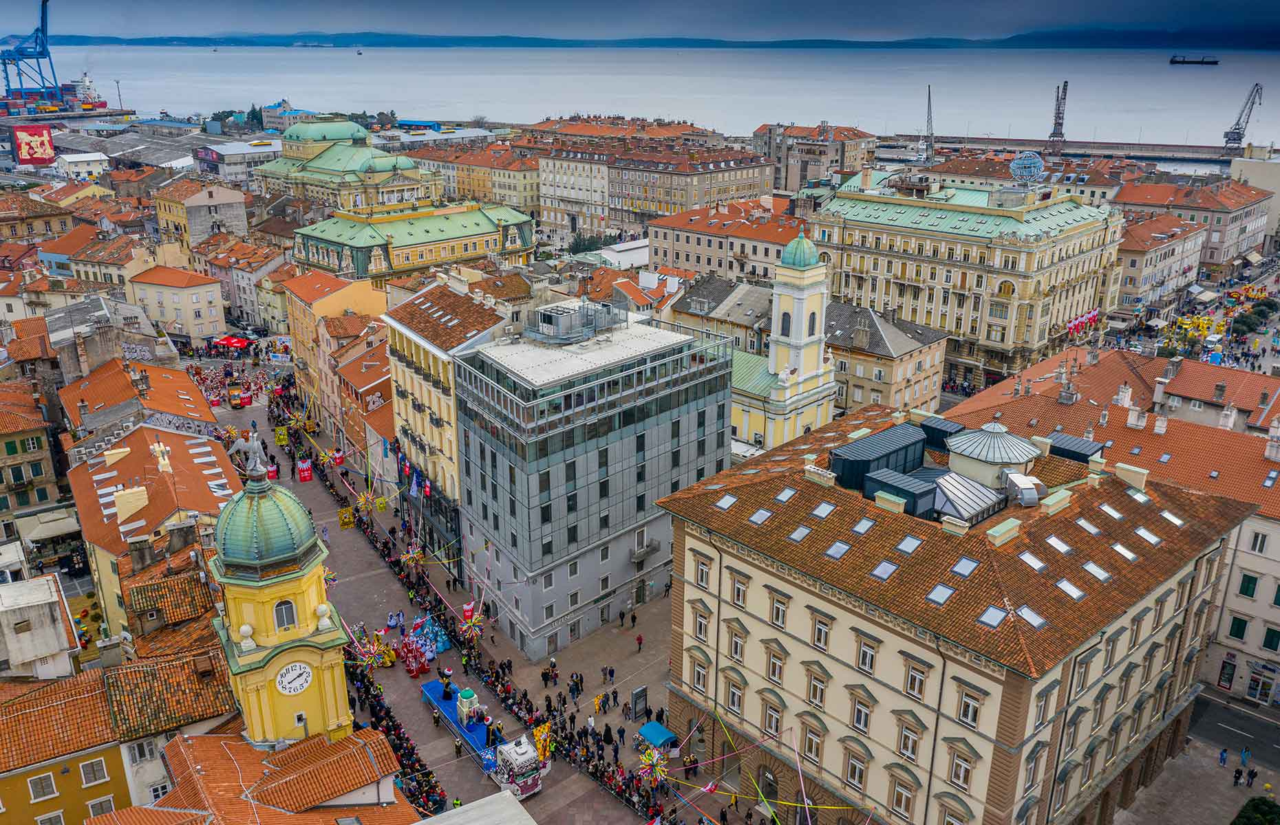 Rijeka, Croatia, viewed from above during a carnival (Image: Stefan Brajkovic/Shutterstock)