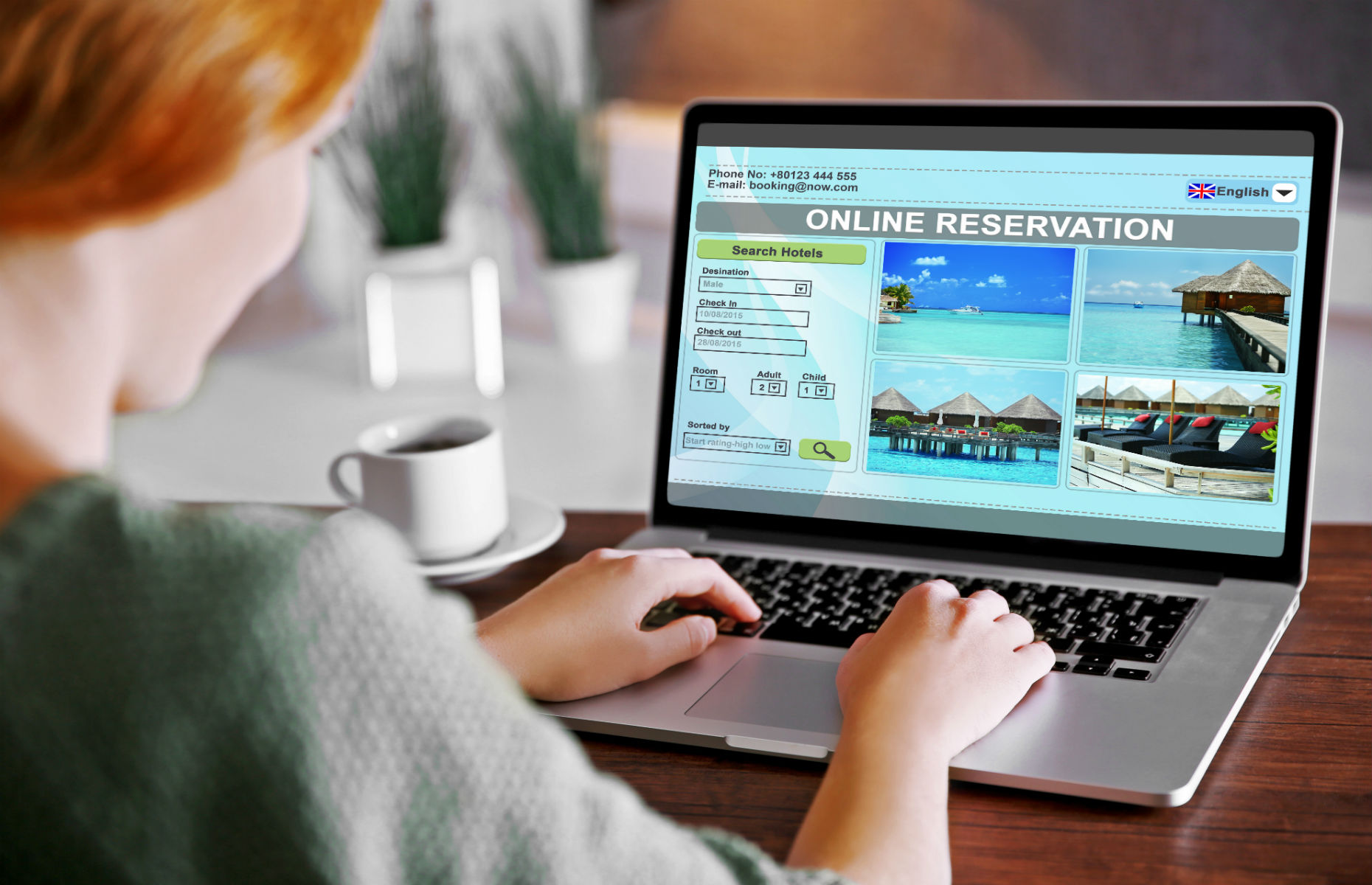 booking a holiday on laptop