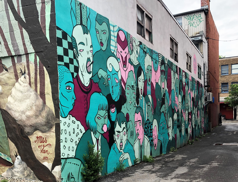Alleyway mural in the Plateau