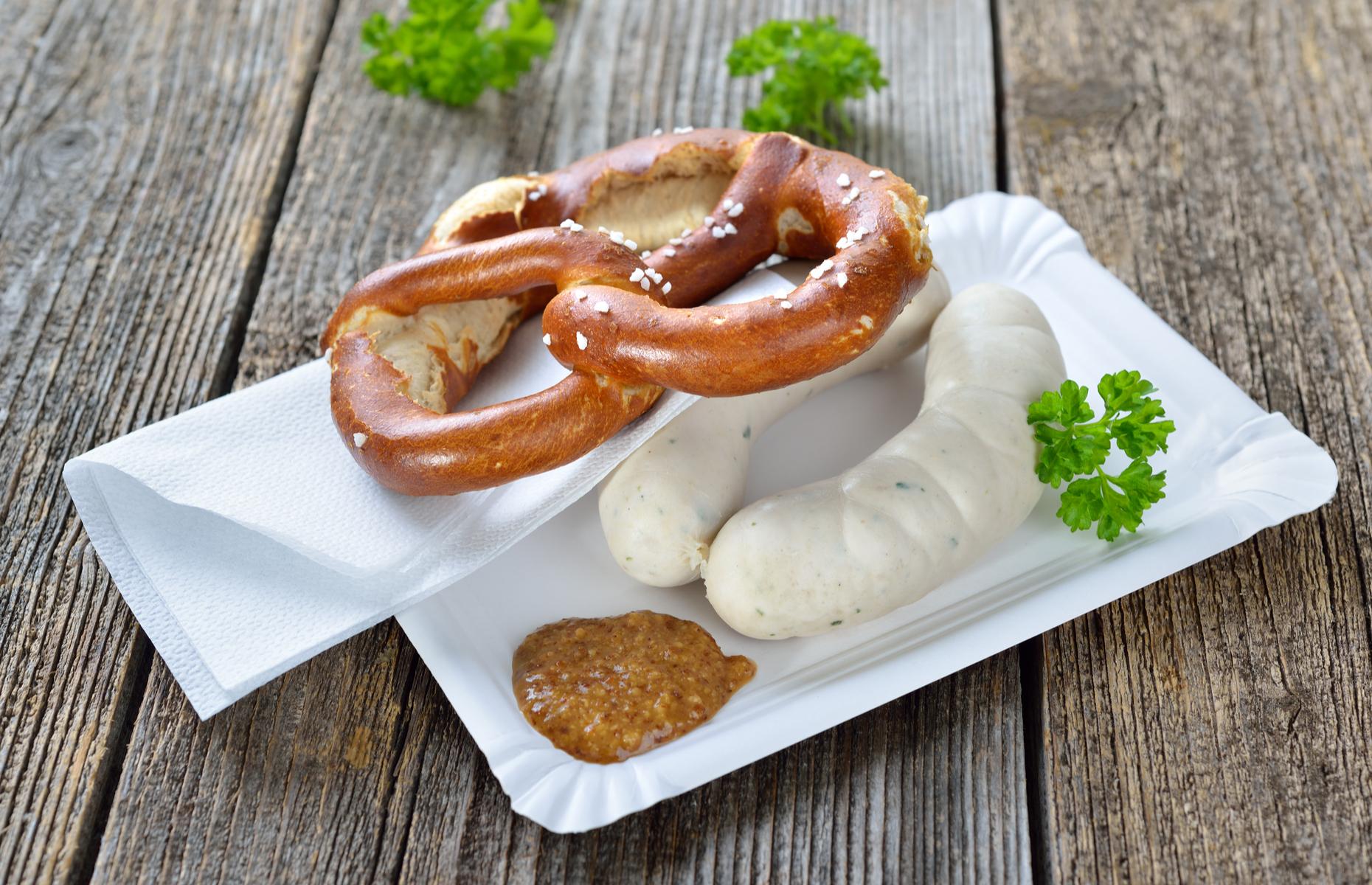 Weisswurst and pretzel