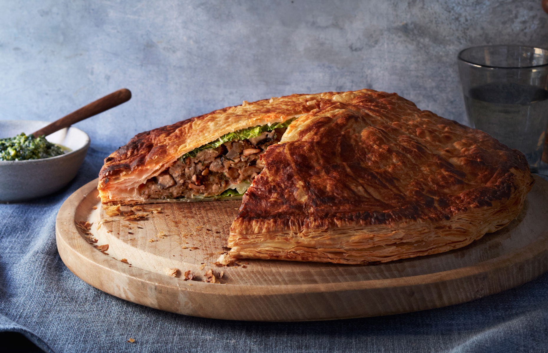 Vegetarian pithivier with watercress and pistachio pesto