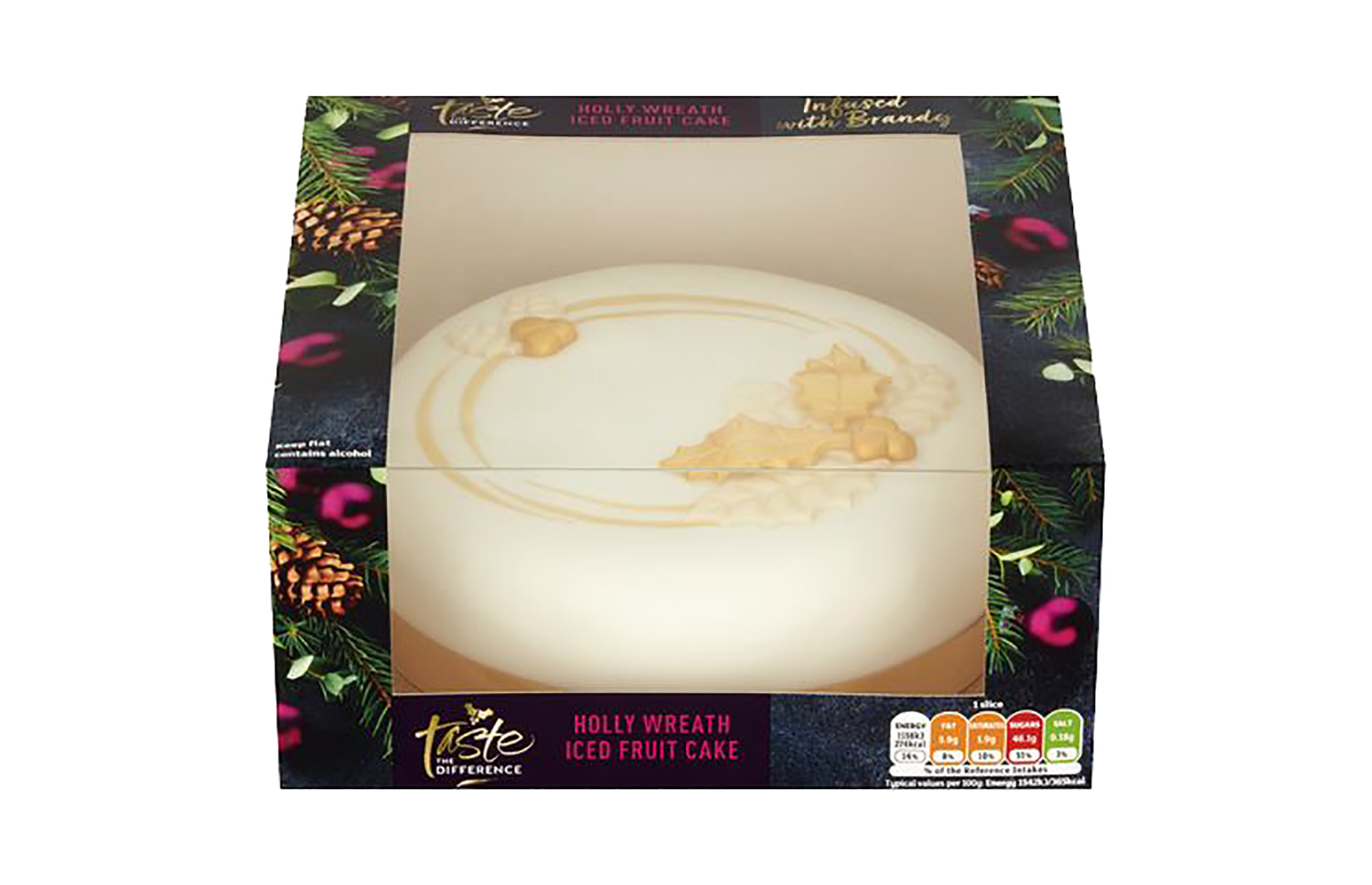 Sainsbury's Taste the Difference holly wreath iced fruit cake