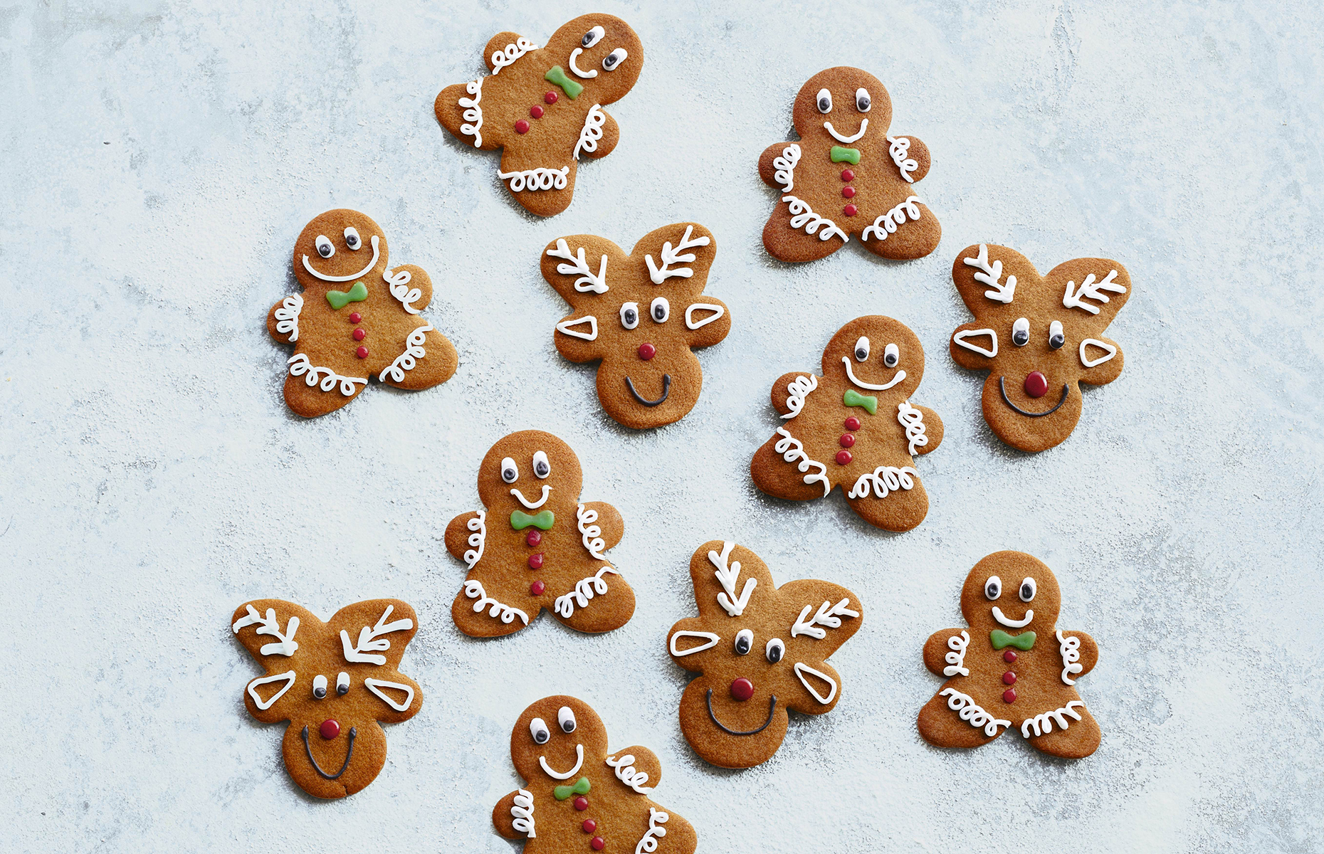 Gingerbread men and reindeer