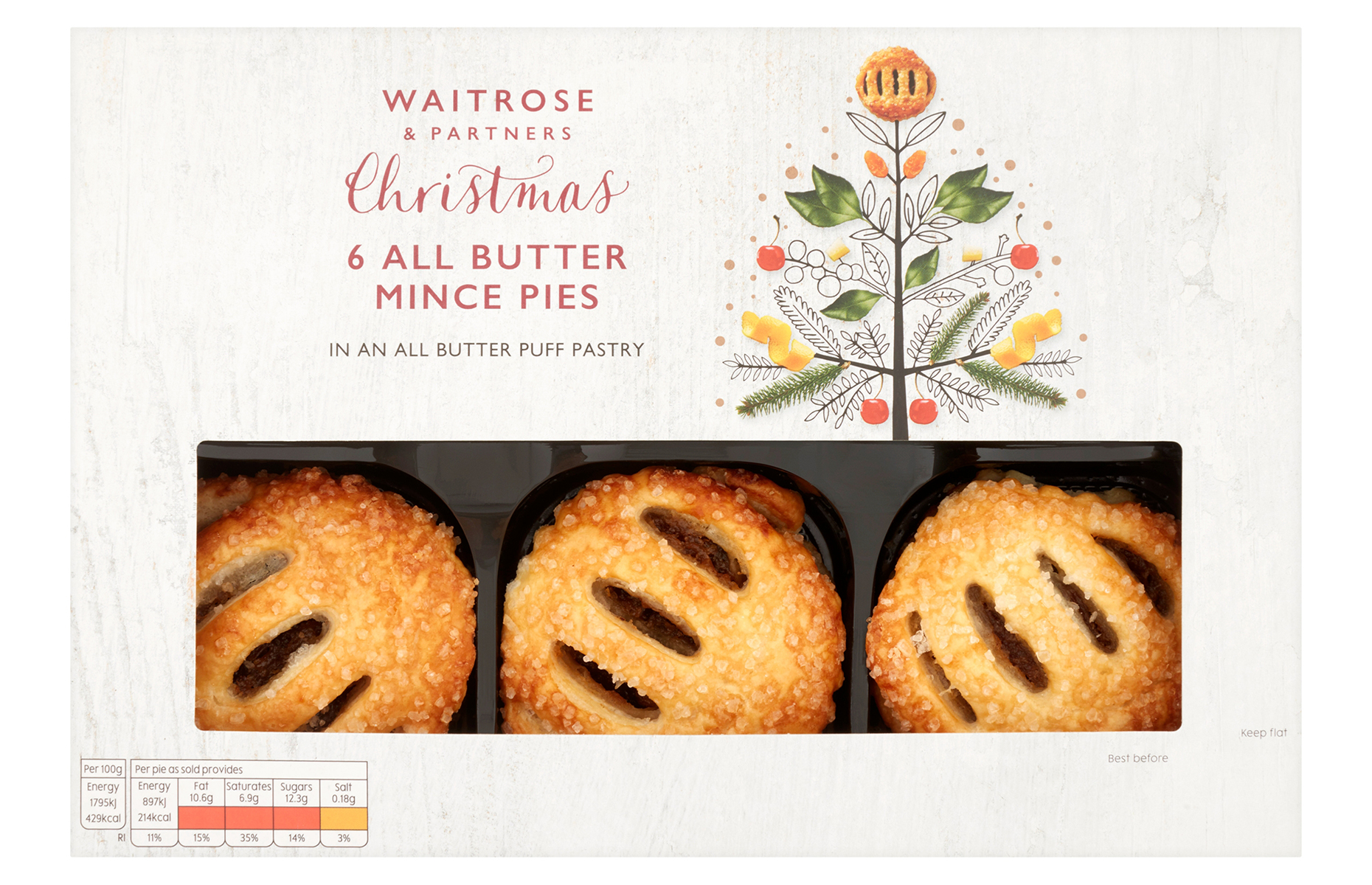 Waitrose & Partners 6 all butter puff pastry mince pies