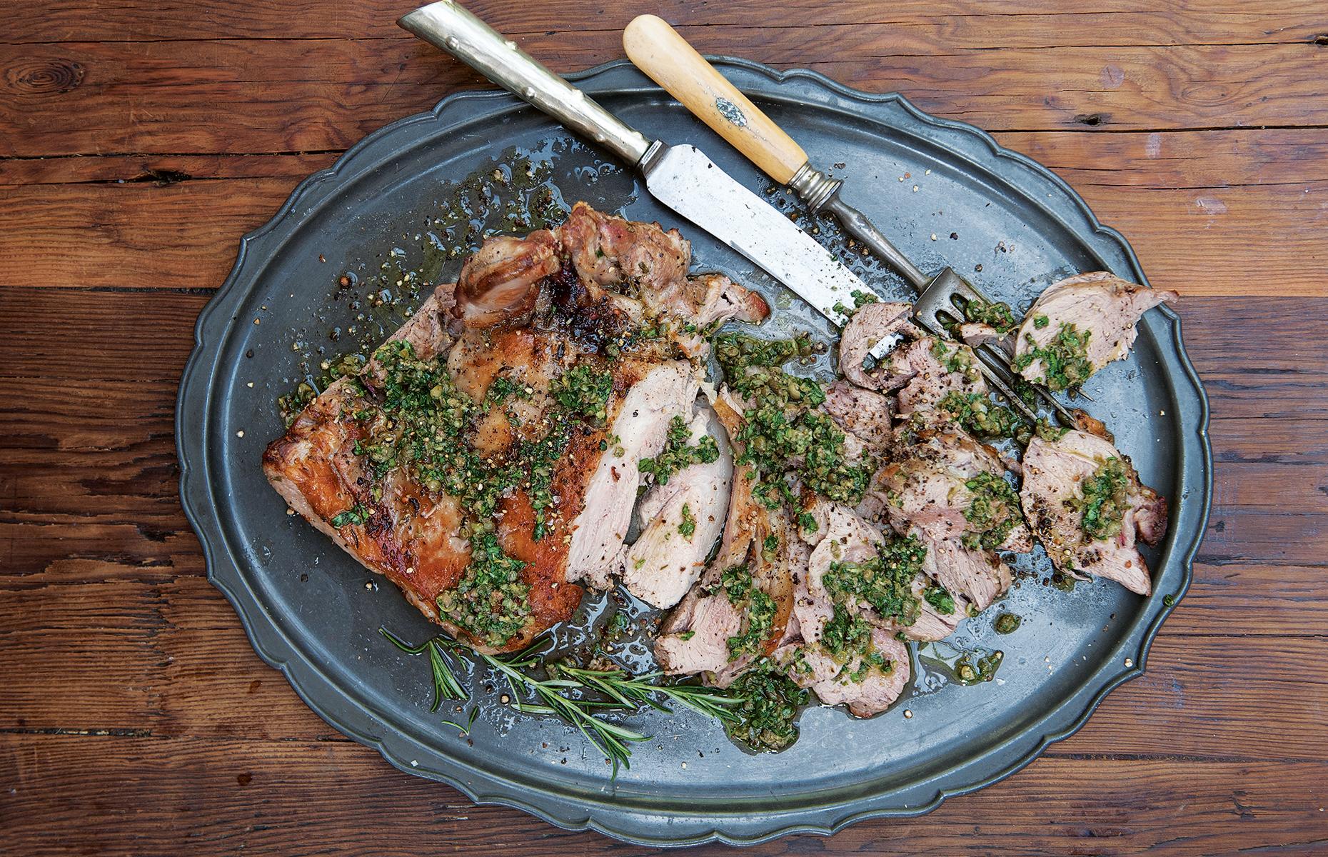Roast lamb with salsa verde