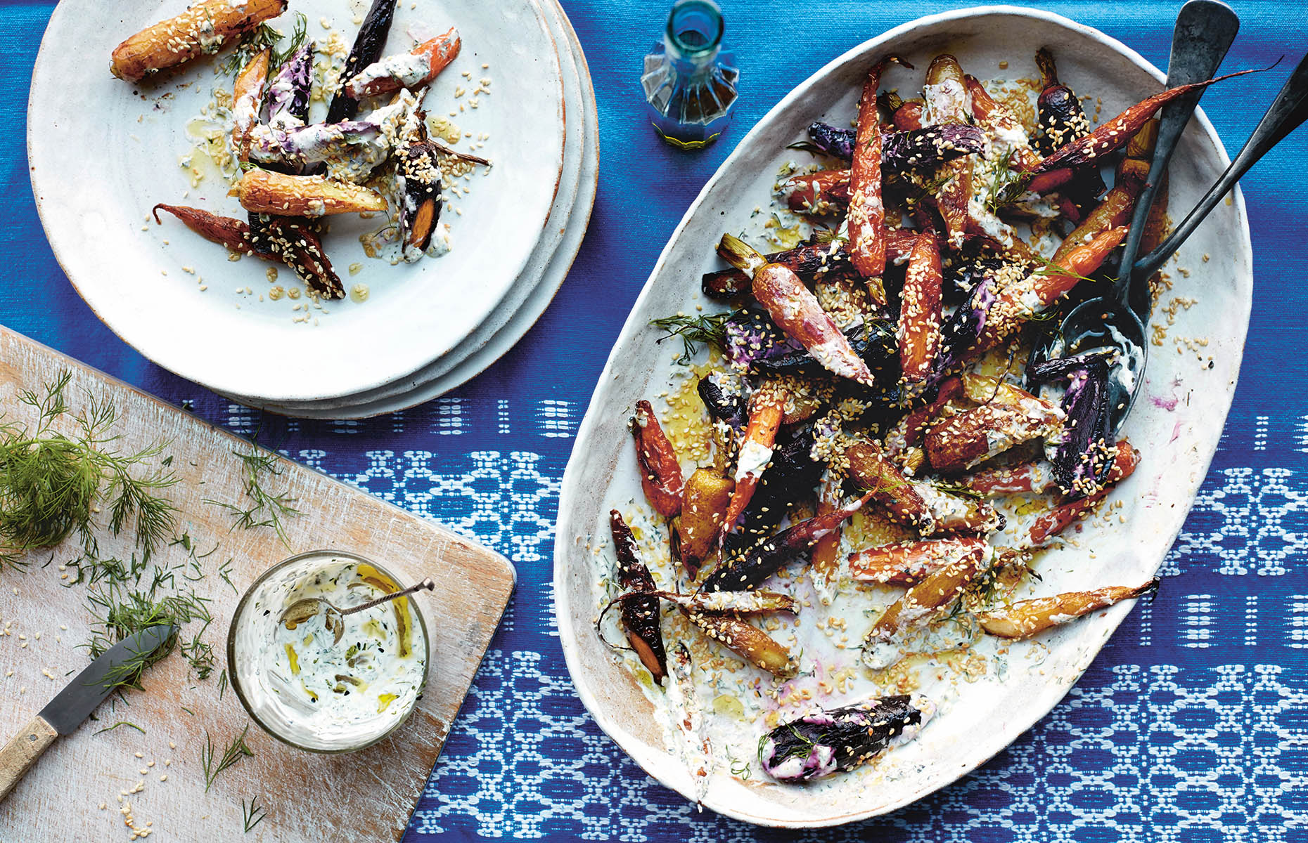 Roast rainbow carrots with herbed yogurt