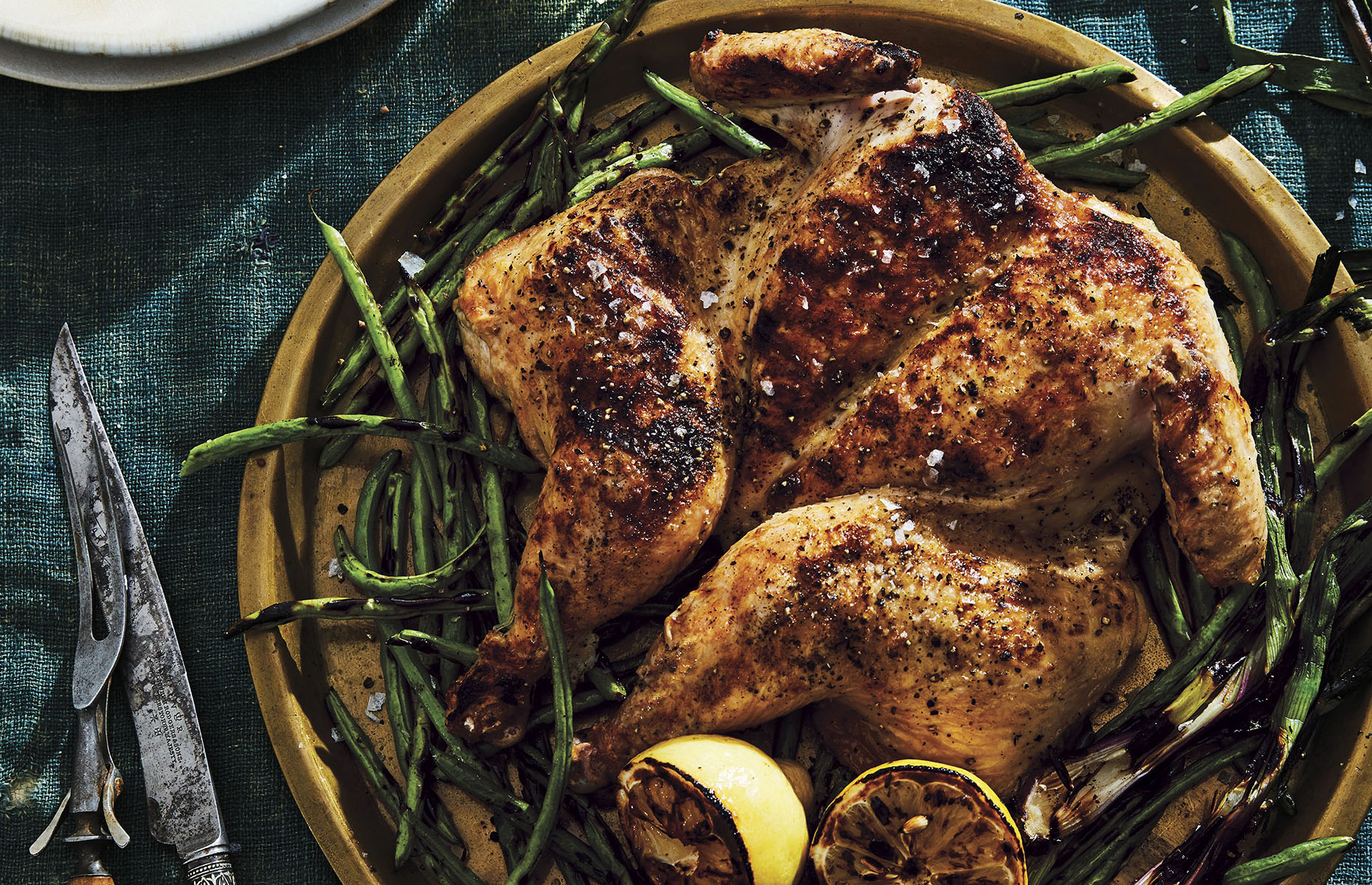 Spatchcocked chicken with green beans