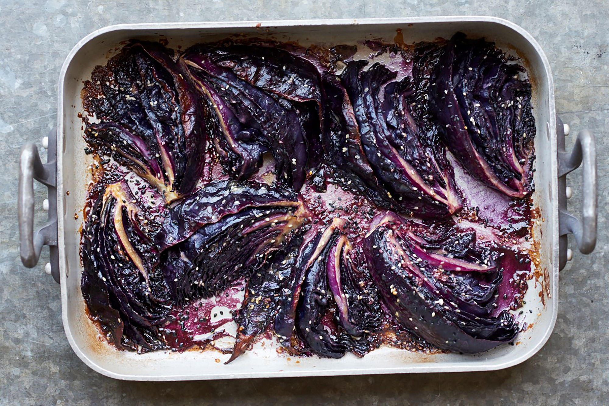 Miso roasted red cabbage
