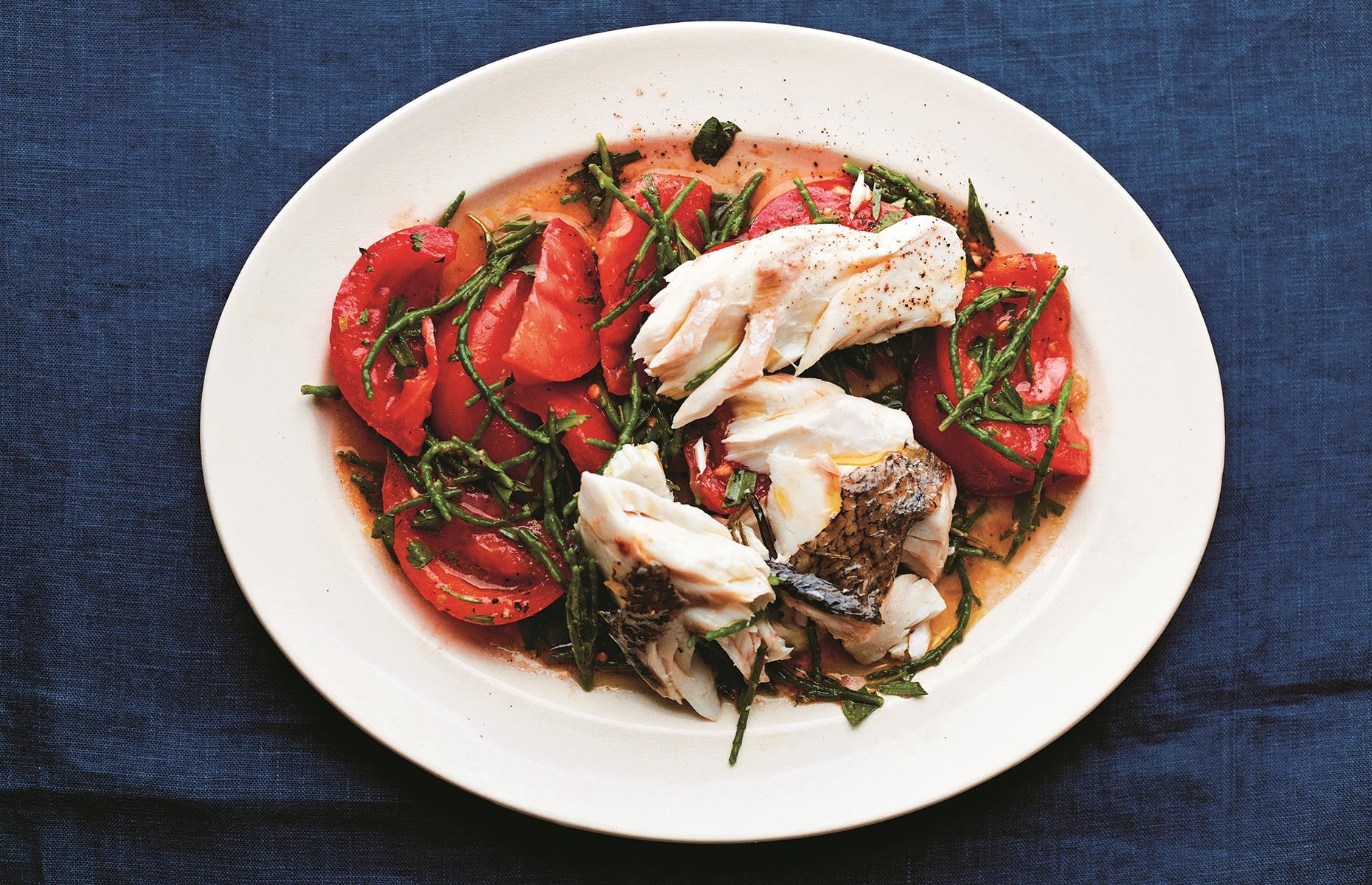 Roast hake, samphire and tomatoes (Image: Sardine/Pavilion Books)
